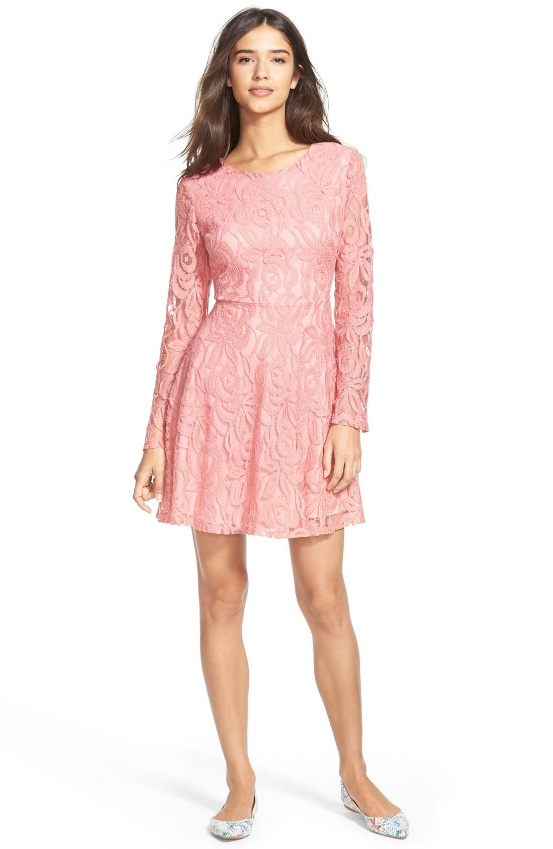 Main Image - Painted Threads Floral Lace Skater Dress (Juniors)