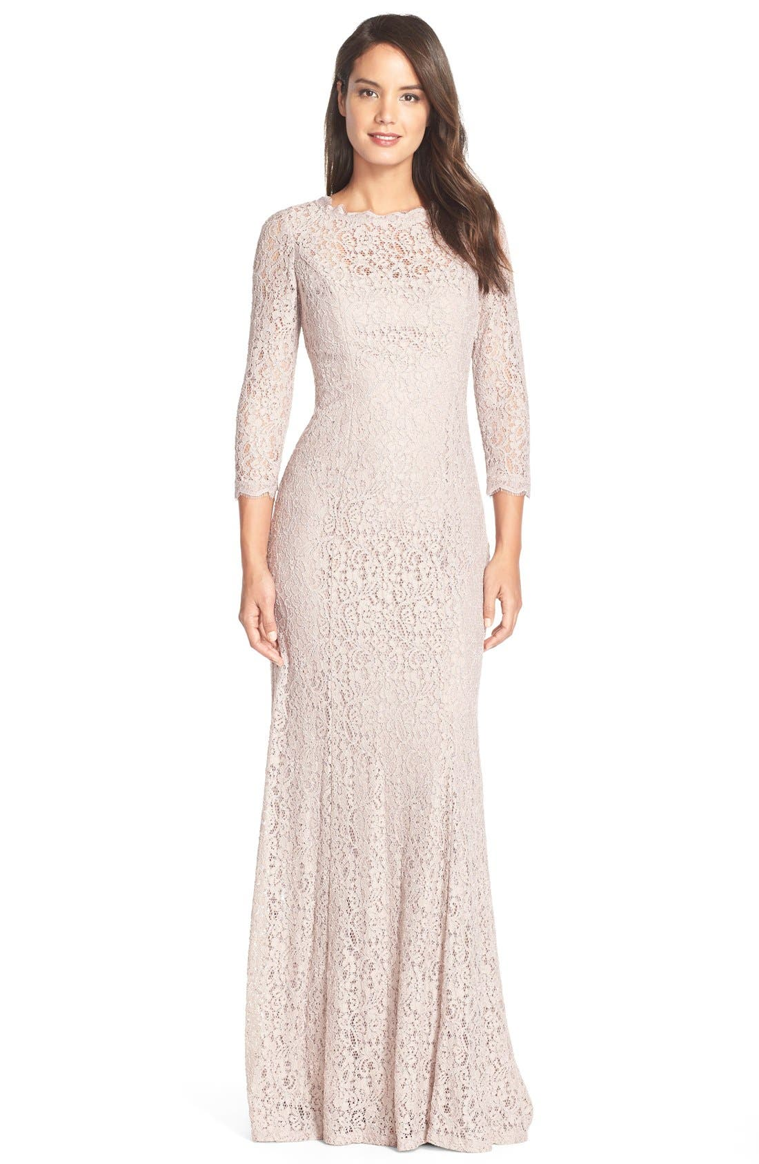 Main Image - Adrianna Papell Illusion Sleeve Lace Mermaid Gown (Regular & Petite)
