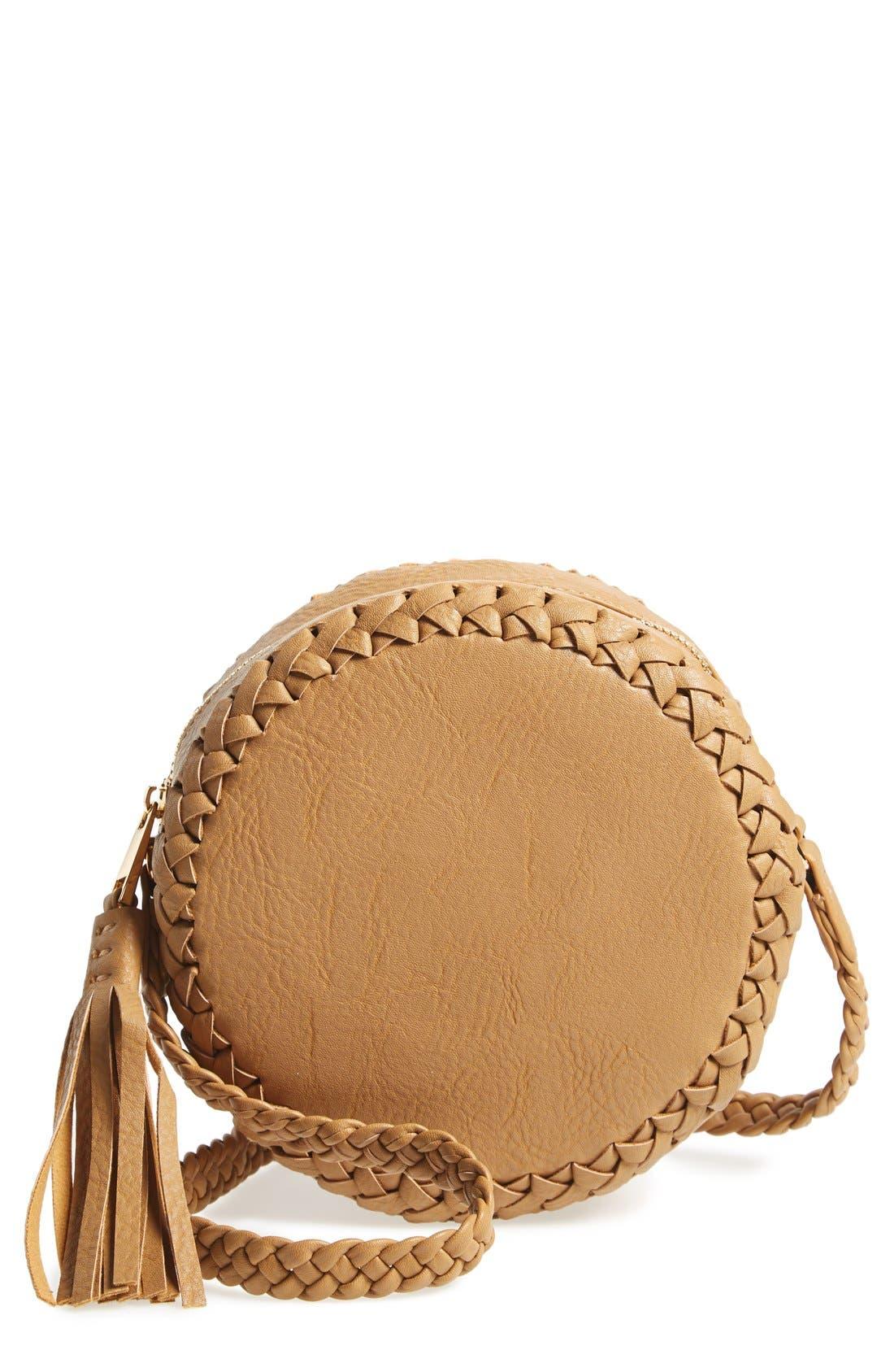 Main Image - Big Buddha Faux Leather Round Crossbody Bag