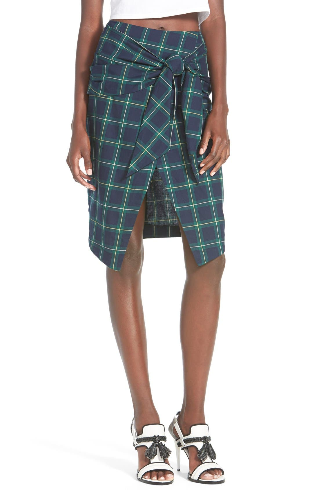 J.O.A. Plaid Tie Front Skirt