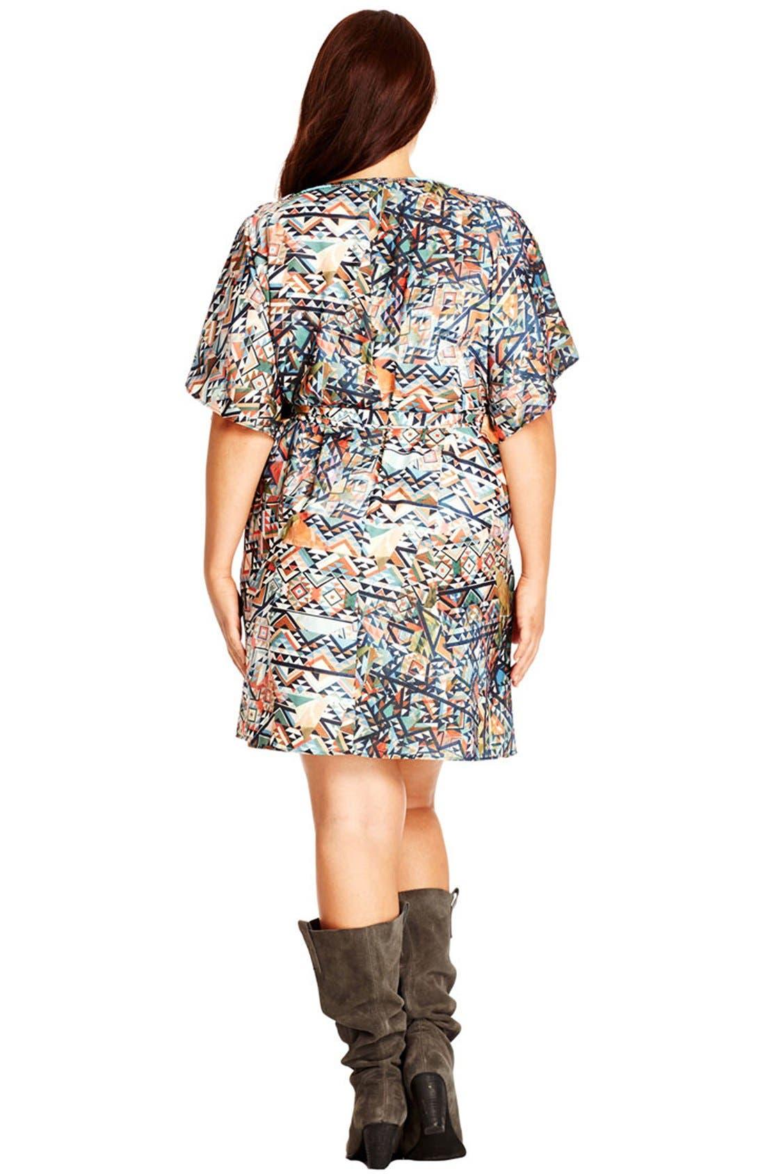 Alternate Image 2  - City Chic Embellished Neck Geo Print Tunic Dress (Plus Size)