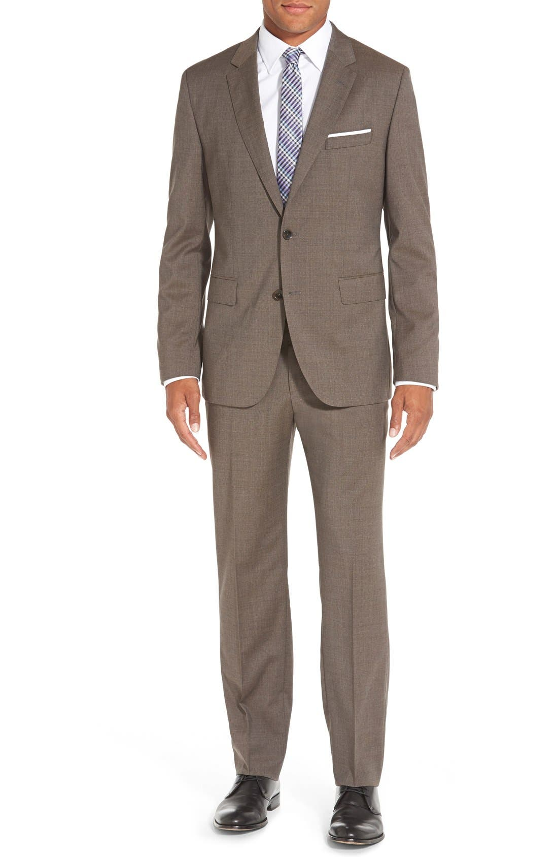 Main Image - BOSS 'Johnstons/Lenon' Trim Fit Solid Wool Suit