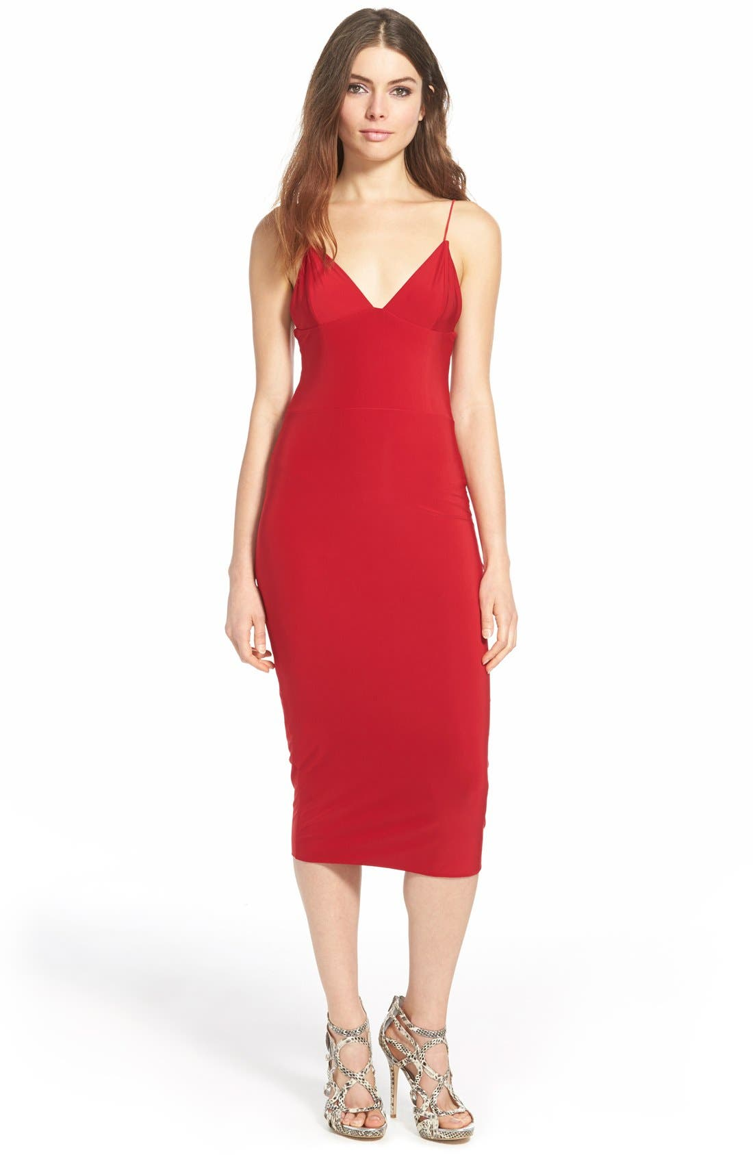 Main Image - MissguidedV-Neck Midi Dress