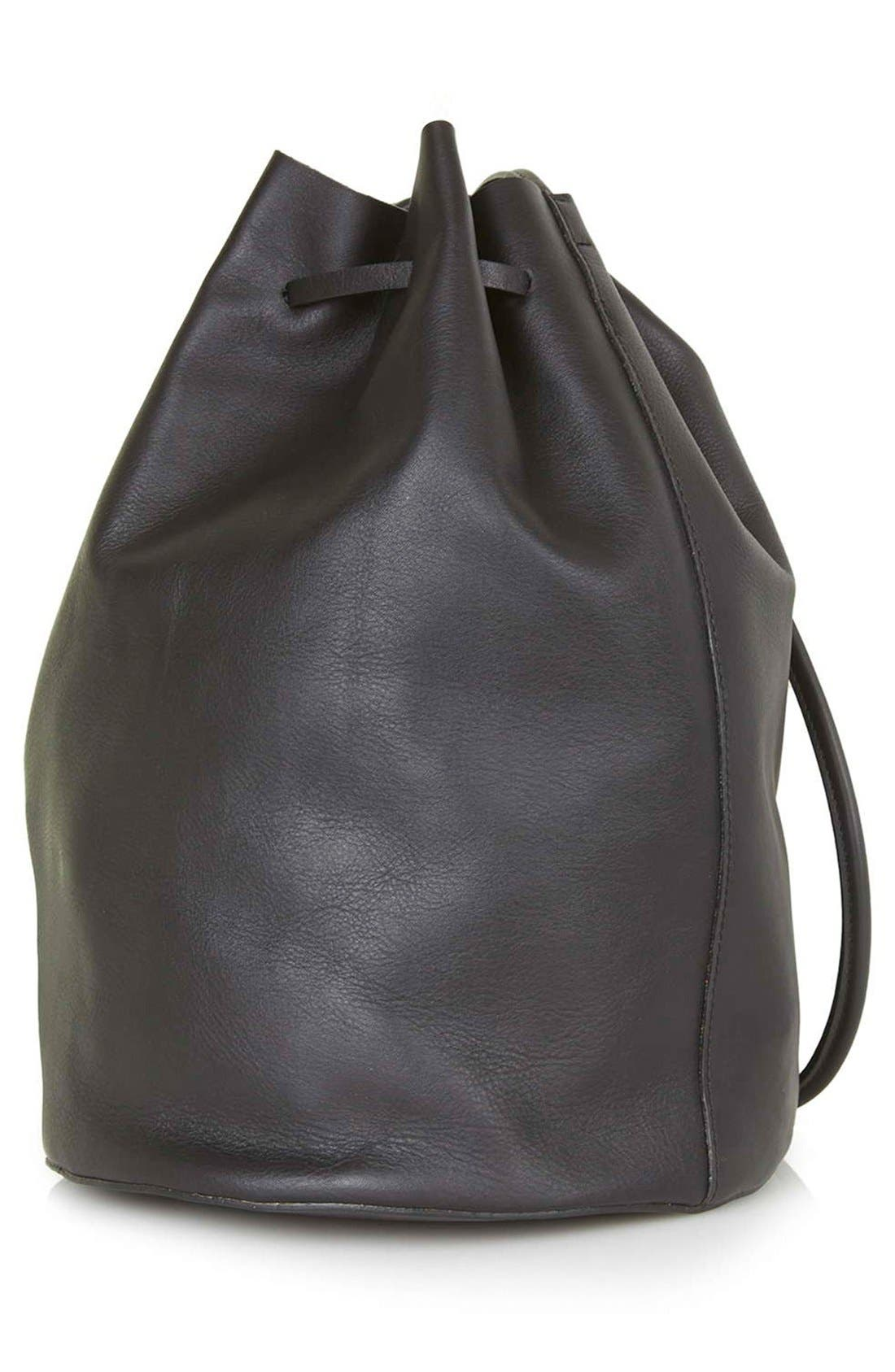 Main Image - Topshop 'Pisces' Leather Bucket Bag