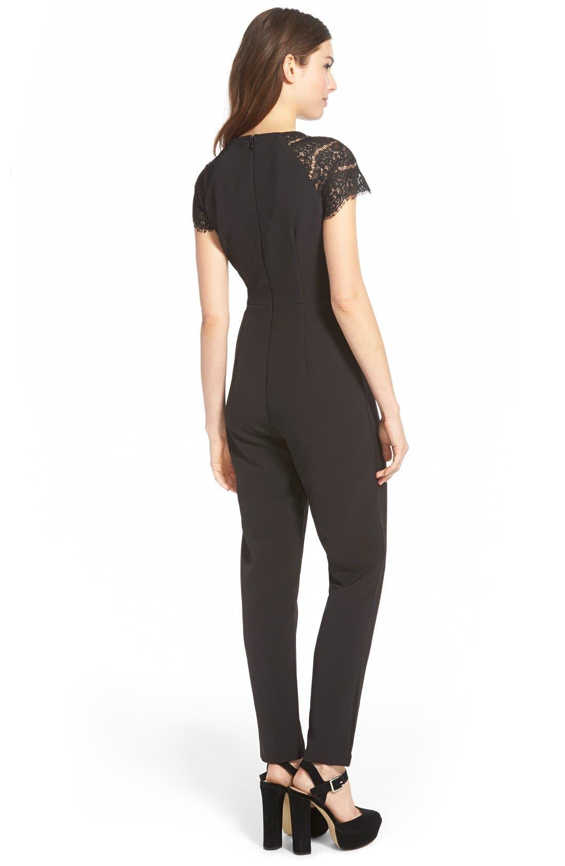 Alternate Image 2  - Missguided Lace Sleeve Jumpsuit