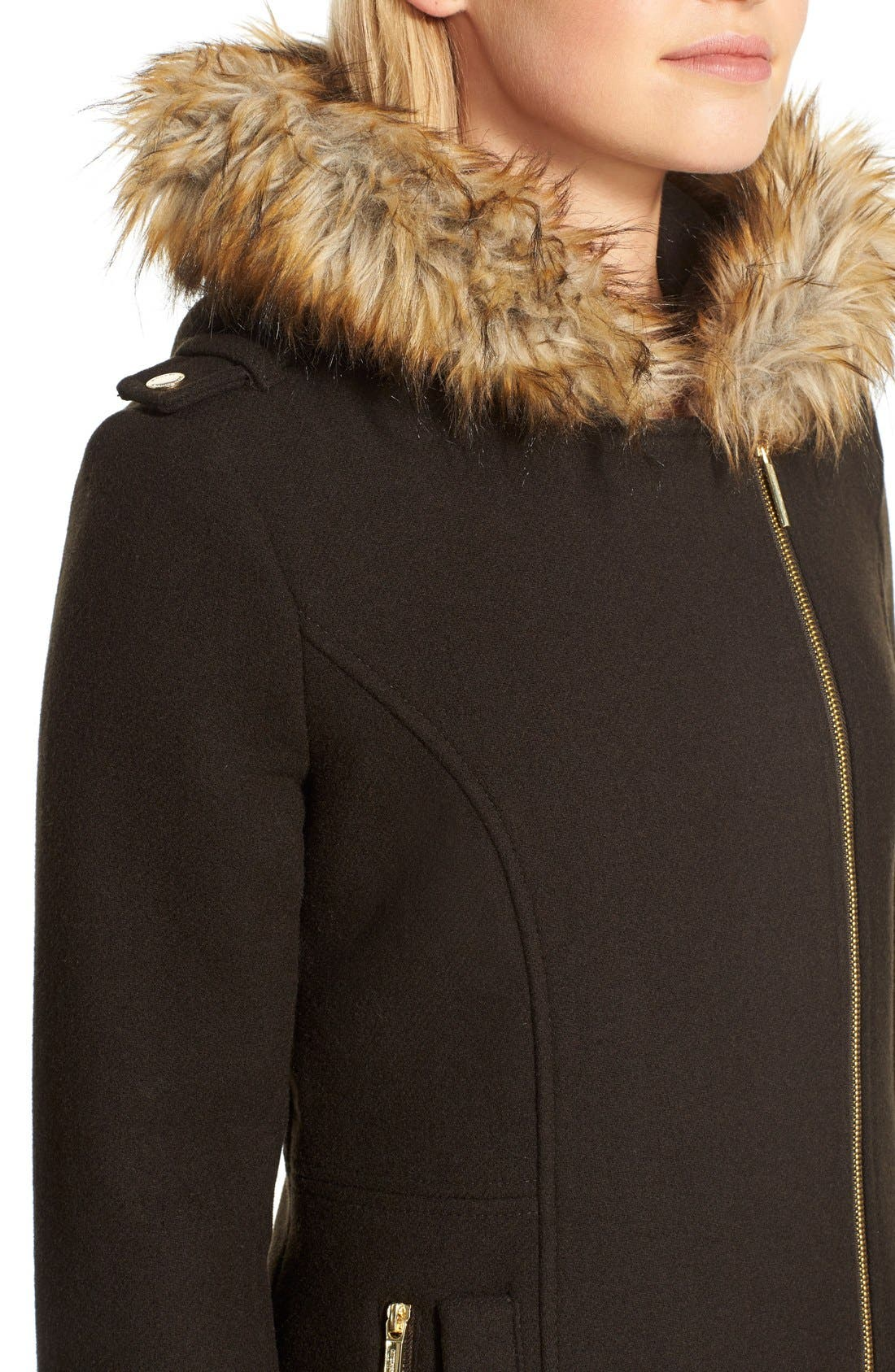 Alternate Image 5  - <br> MICHAEL Michael Kors Belted Asymmetrical Wool Blend Coat with Faux Fur<br>