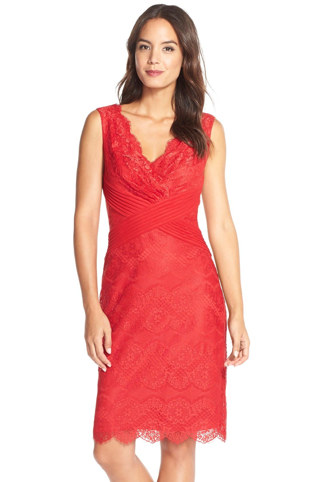 Main Image - Tadashi Shoji Mixed Media Sheath Dress (Regular & Petite)