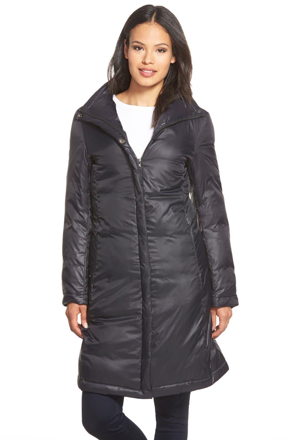 Alternate Image 1 Selected - Eileen Fisher Stand Collar Down Puffer Jacket (Regular & Petite)