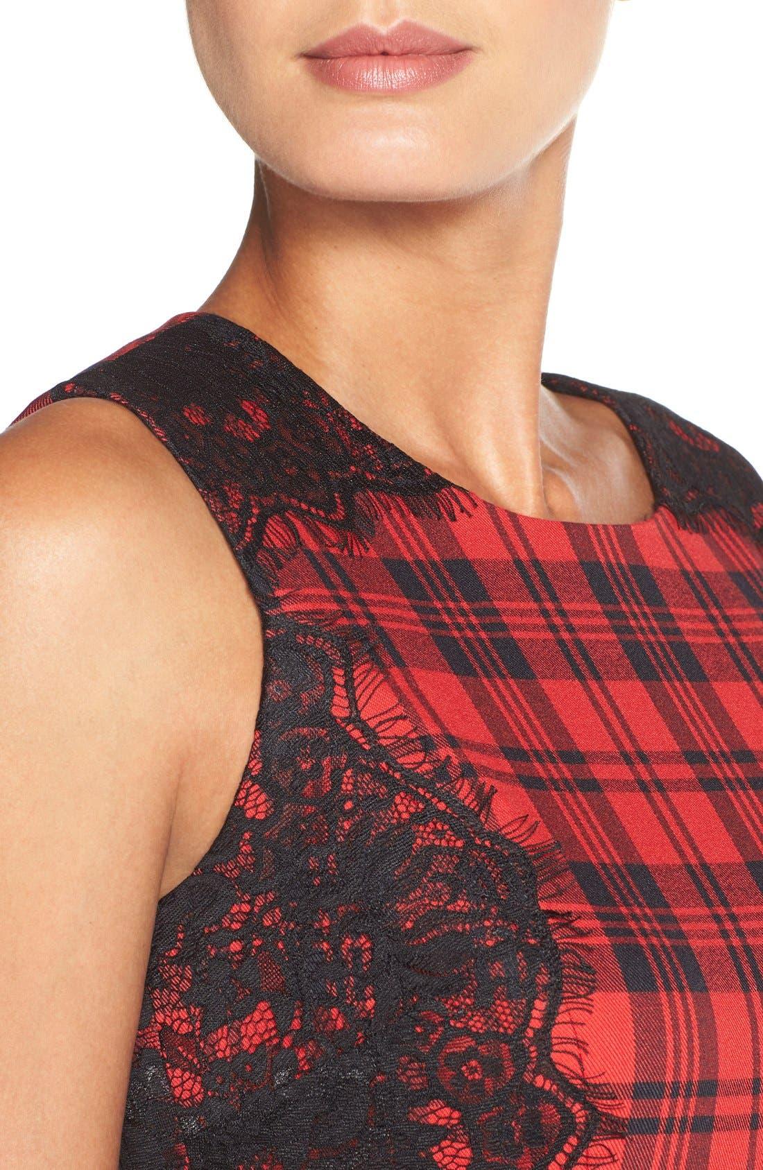 Alternate Image 5  - ChettaB Plaid & Lace Sheath Dress
