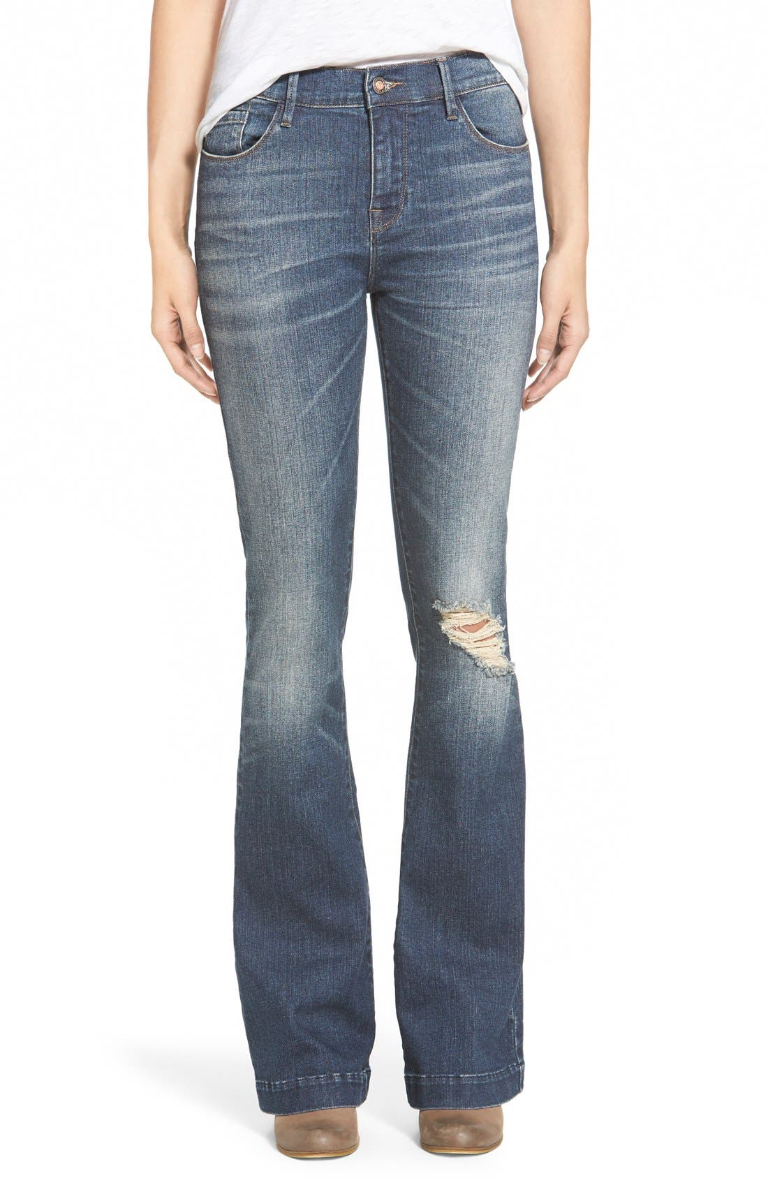 Alternate Image 1 Selected - On Twelfth 'Taylor' Flare Girlfriend Jeans (Klamath Falls Medium Tint)