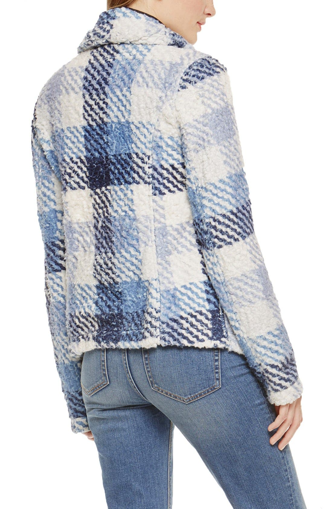 Alternate Image 2  - Two by Vince Camuto Fuzzy Plaid Drape Front Coat