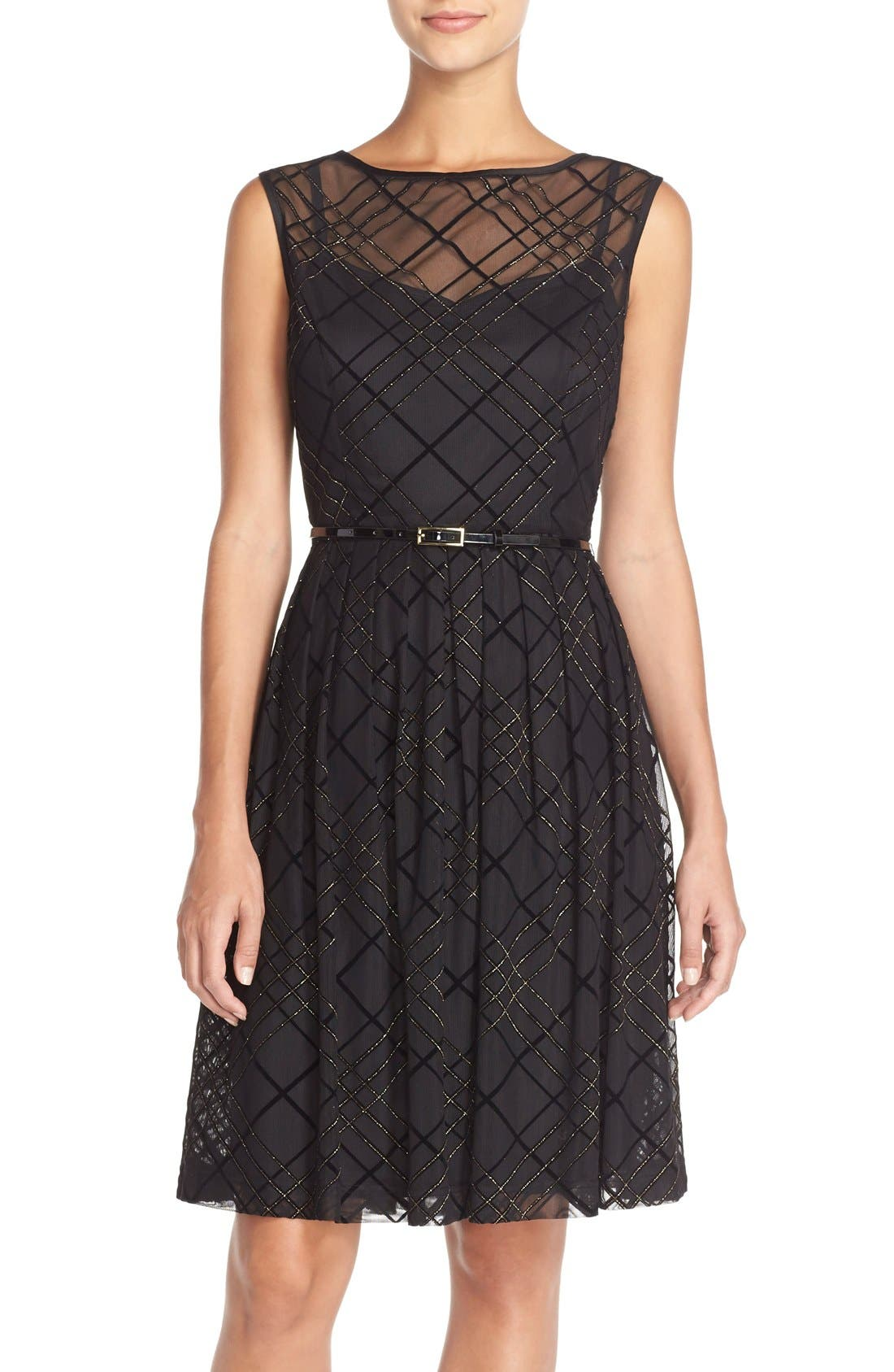 ELLEN TRACY Plaid Mesh Fit & Flare Dress