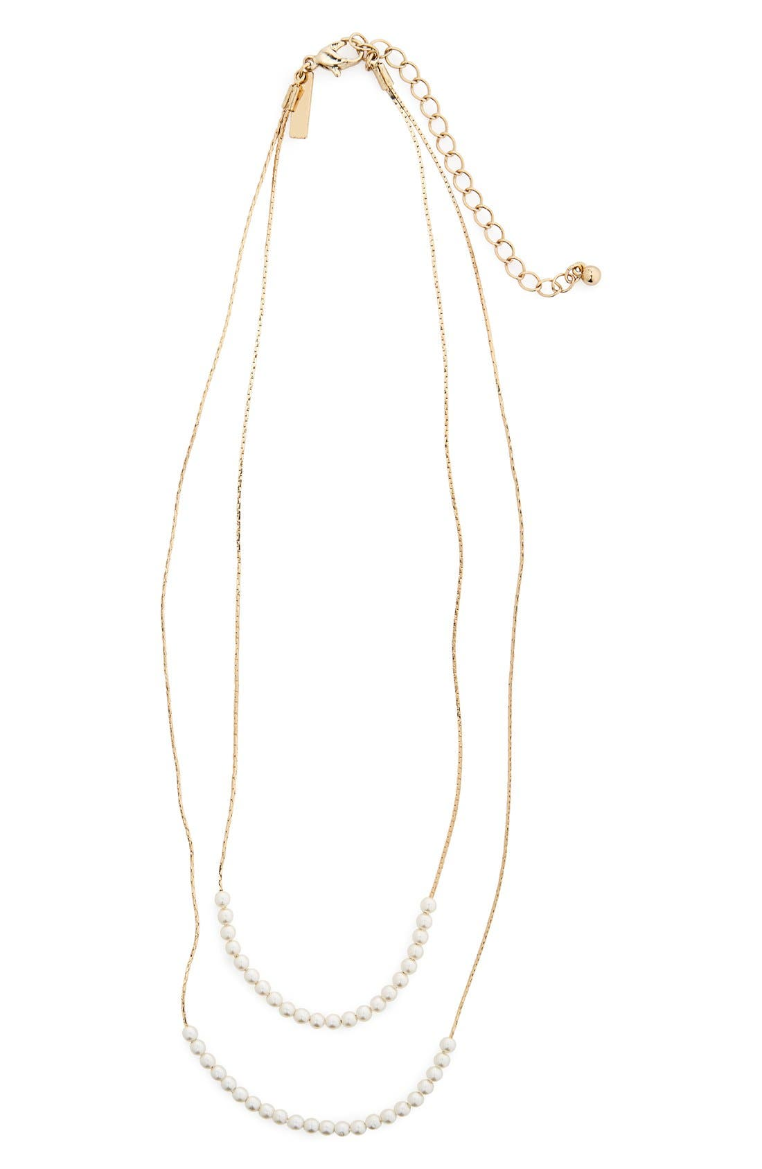Main Image - Topshop Pearly Bead Double Strand Necklace