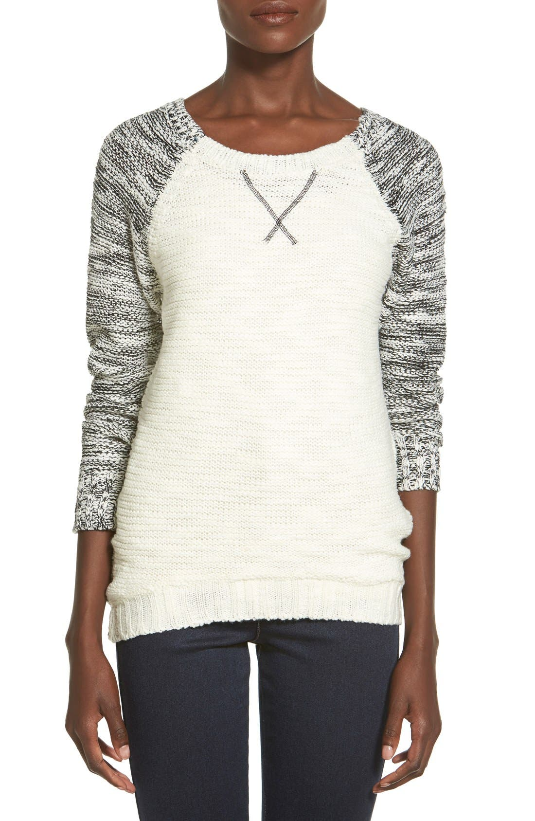 Alternate Image 1 Selected - Derek Heart Marled Colorblock Raglan Sweater