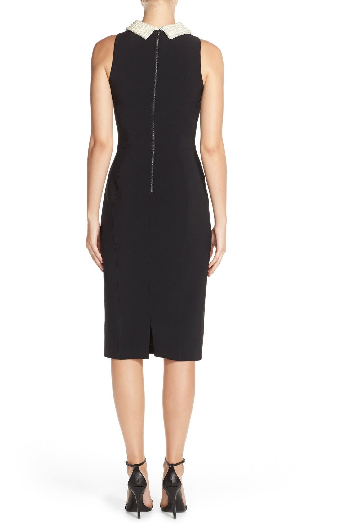 Alternate Image 2  - Maggy London Pearl Collar Crepe Sheath Dress (Petite)