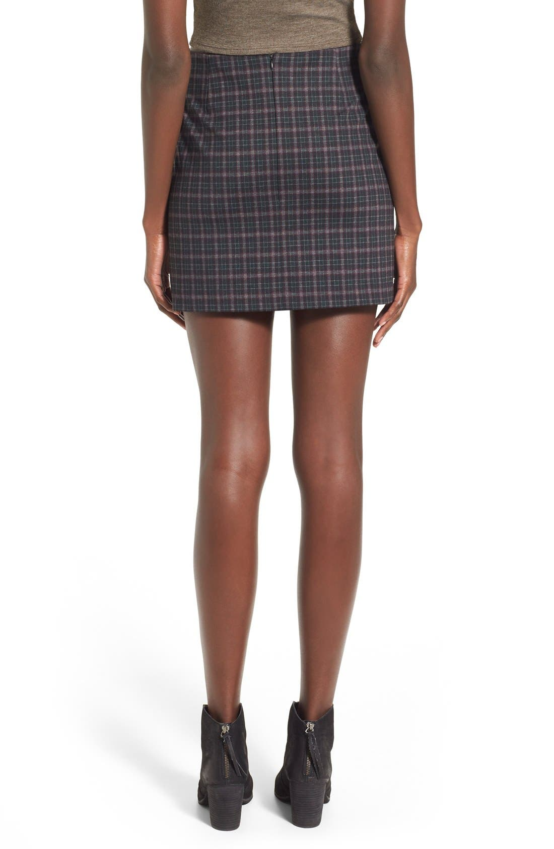 Alternate Image 2  - Fire Asymmetrical Hem Plaid Skirt