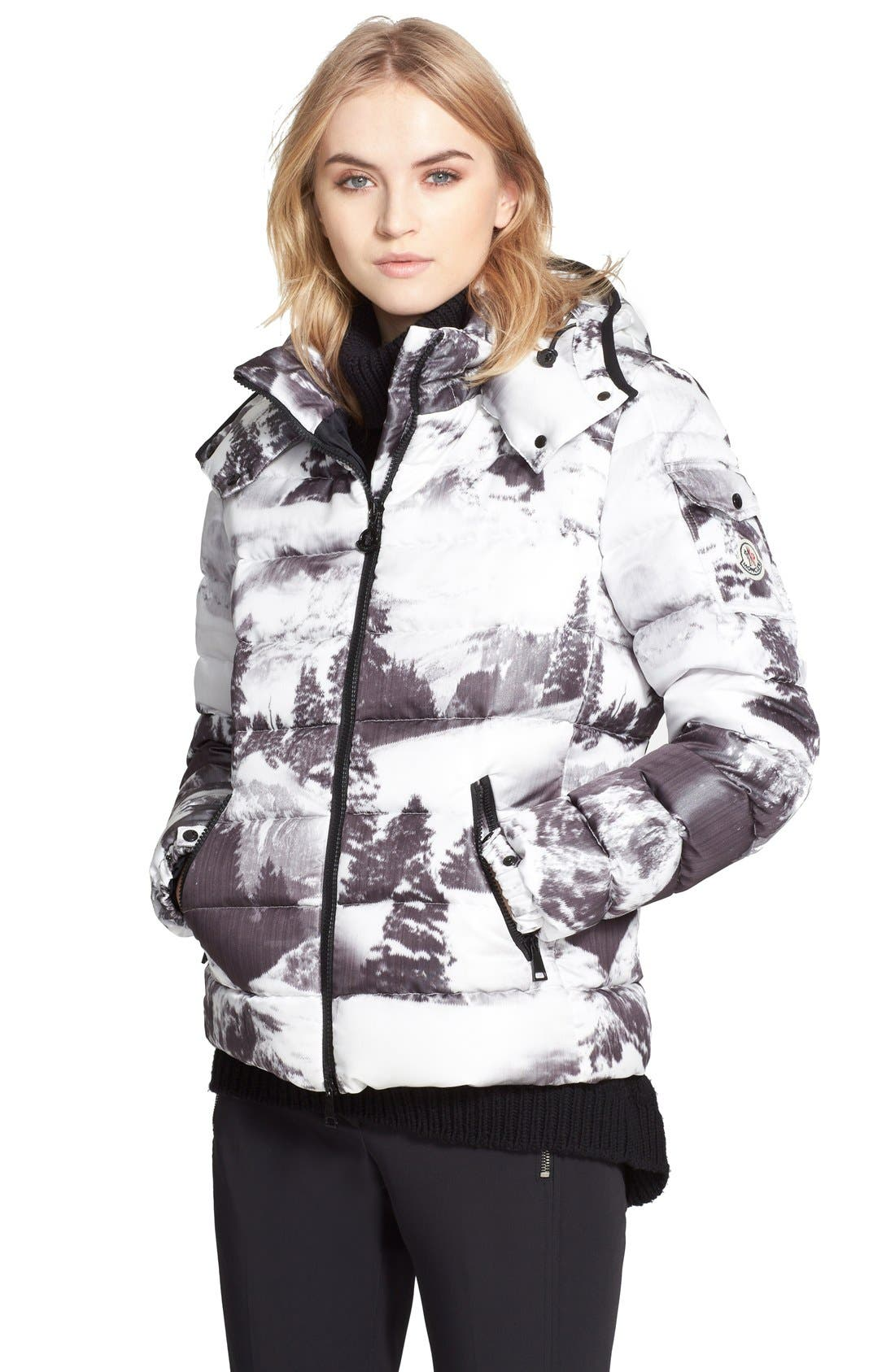 Alternate Image 1 Selected - Moncler 'Abbadia' Forest Print Hooded Down Puffer Coat
