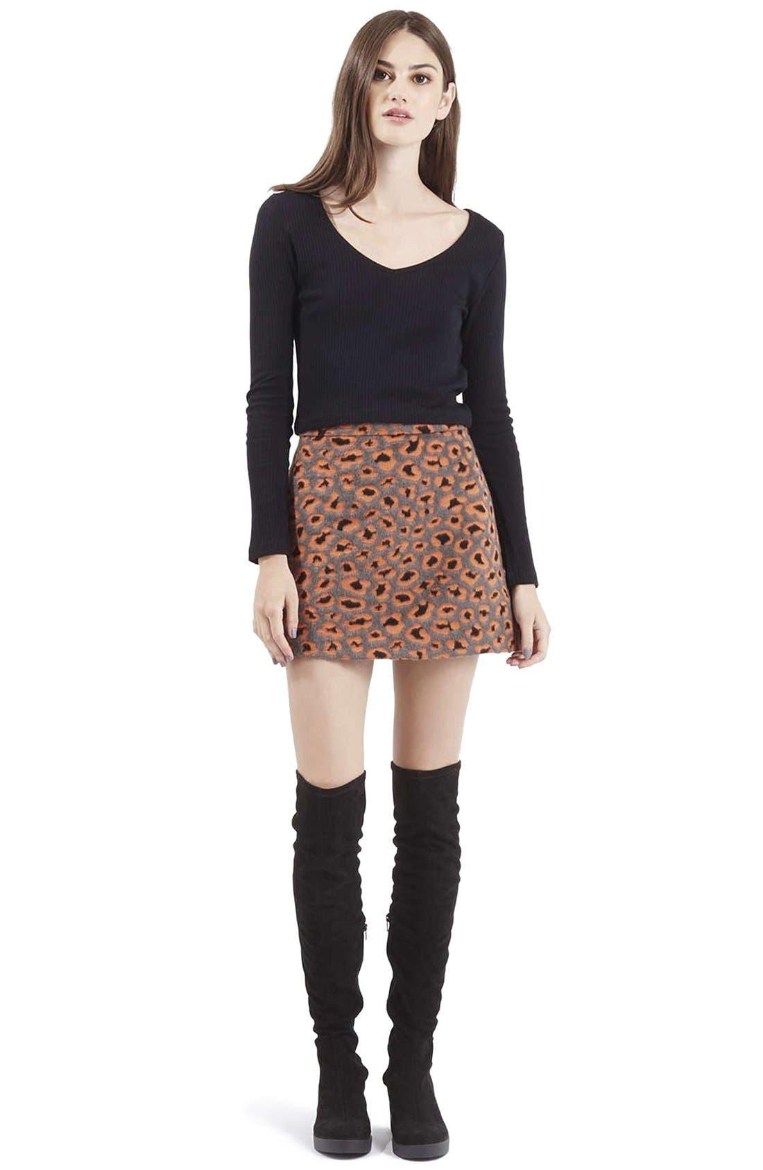 Alternate Image 2  - Topshop Leopard Print A-Line Miniskirt