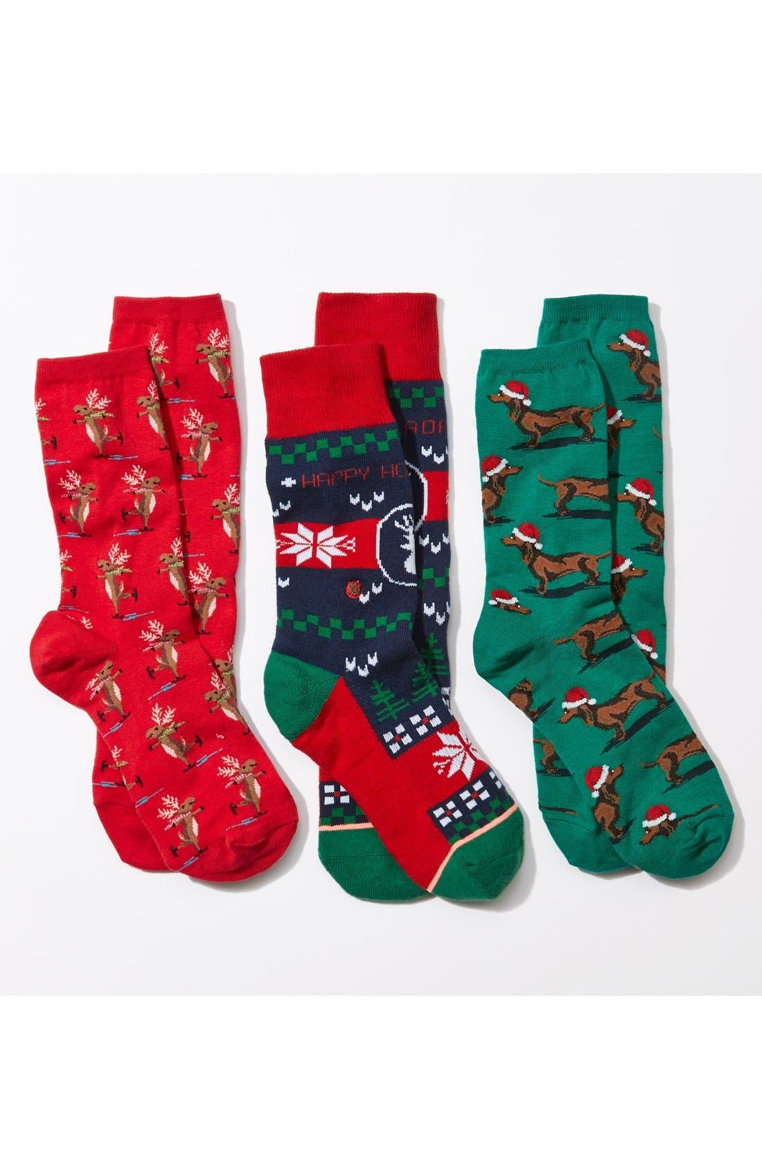 Alternate Image 3  - Hot Sox 'Santa Dogs' Crew Socks