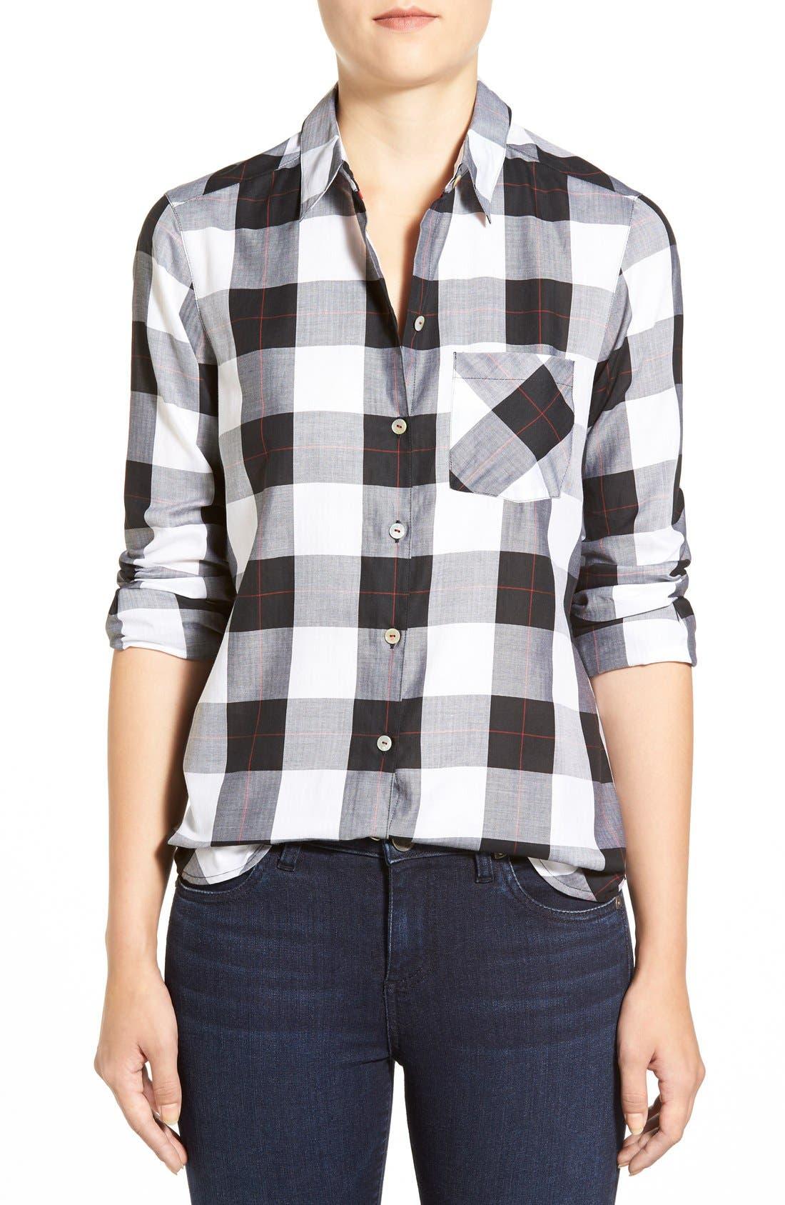 Alternate Image 1 Selected - Foxcroft Herringbone Buffalo Check Shirt (Regular & Petite)