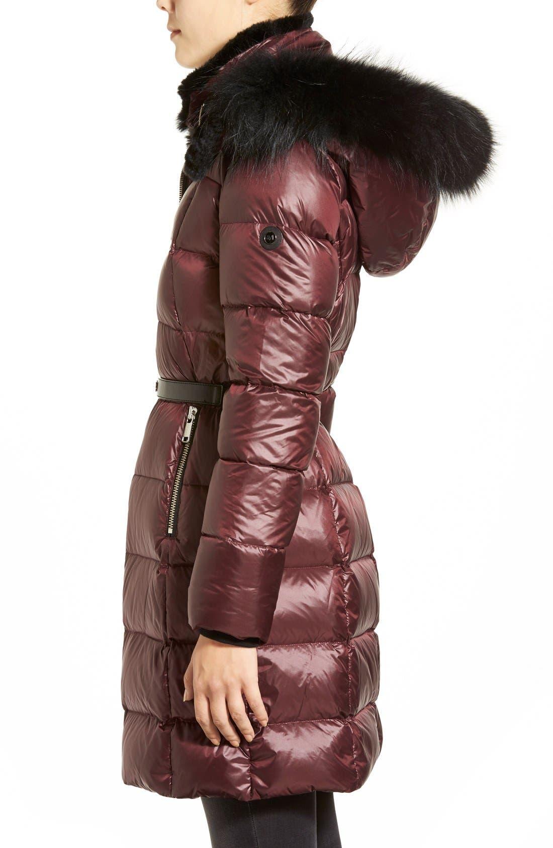 Alternate Image 3  - Andrew Marc 'Tatiana' Belted Down Coat with Genuine Fox & Rabbit Fur Trim