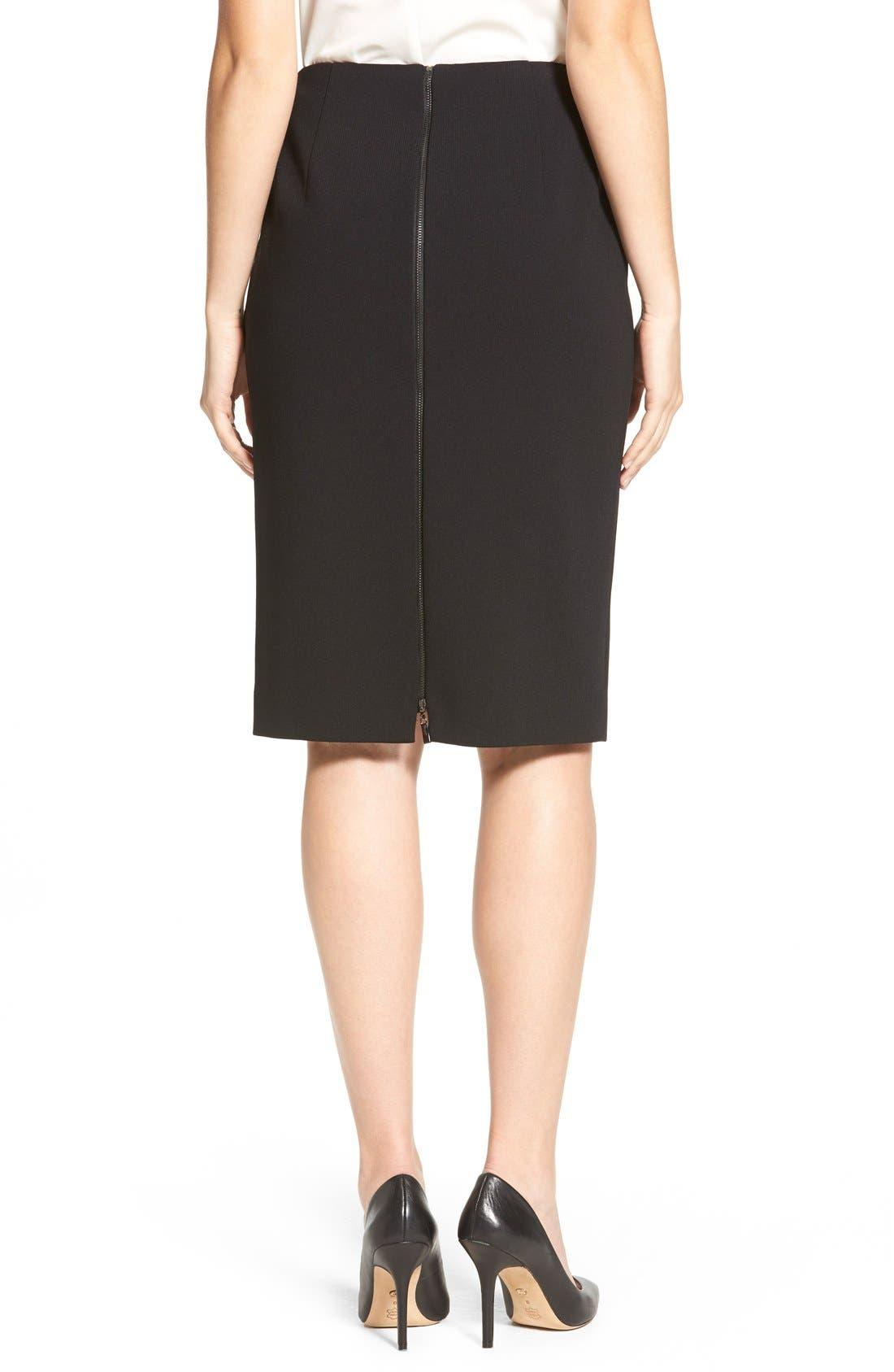 Alternate Image 2  - Classiques Entier® Zip Back Ponte Pencil Skirt