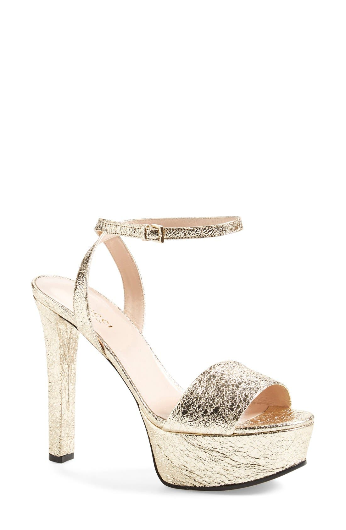 Alternate Image 1 Selected - Gucci 'Leila' Ankle Strap Platform Sandal (Women)
