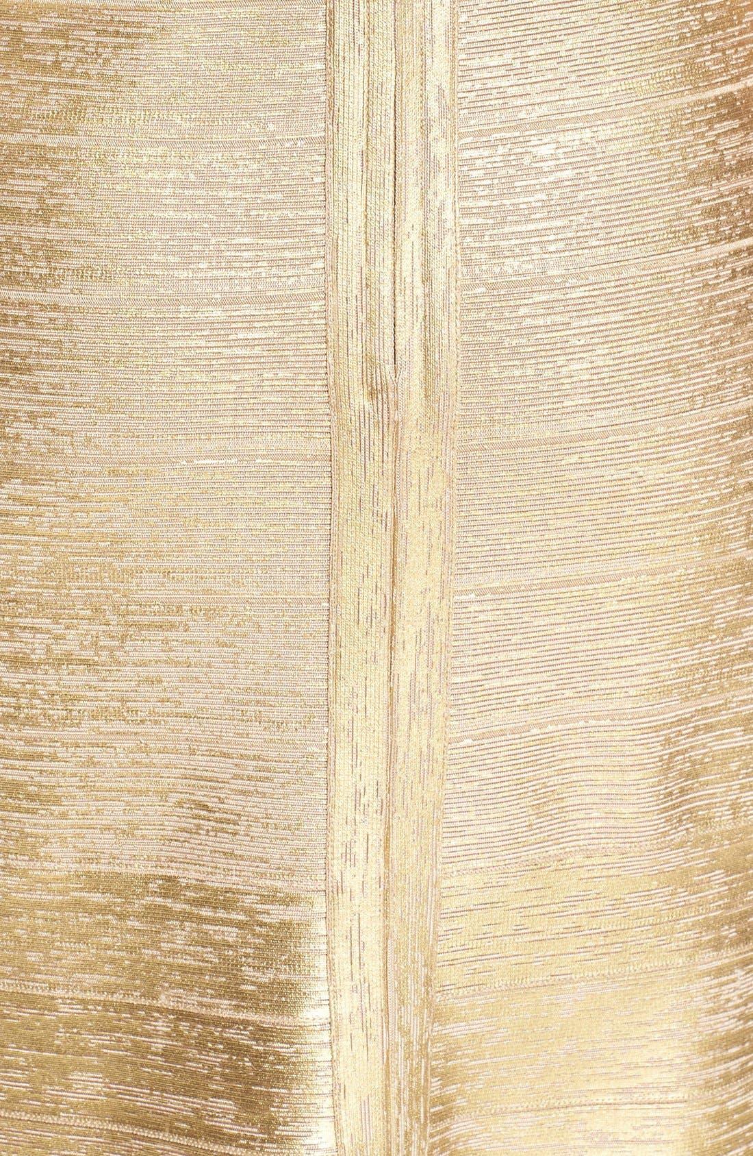 Alternate Image 3  - Herve Leger 'Lilyanna' One-Shoulder Woodgrain Metallic Gown