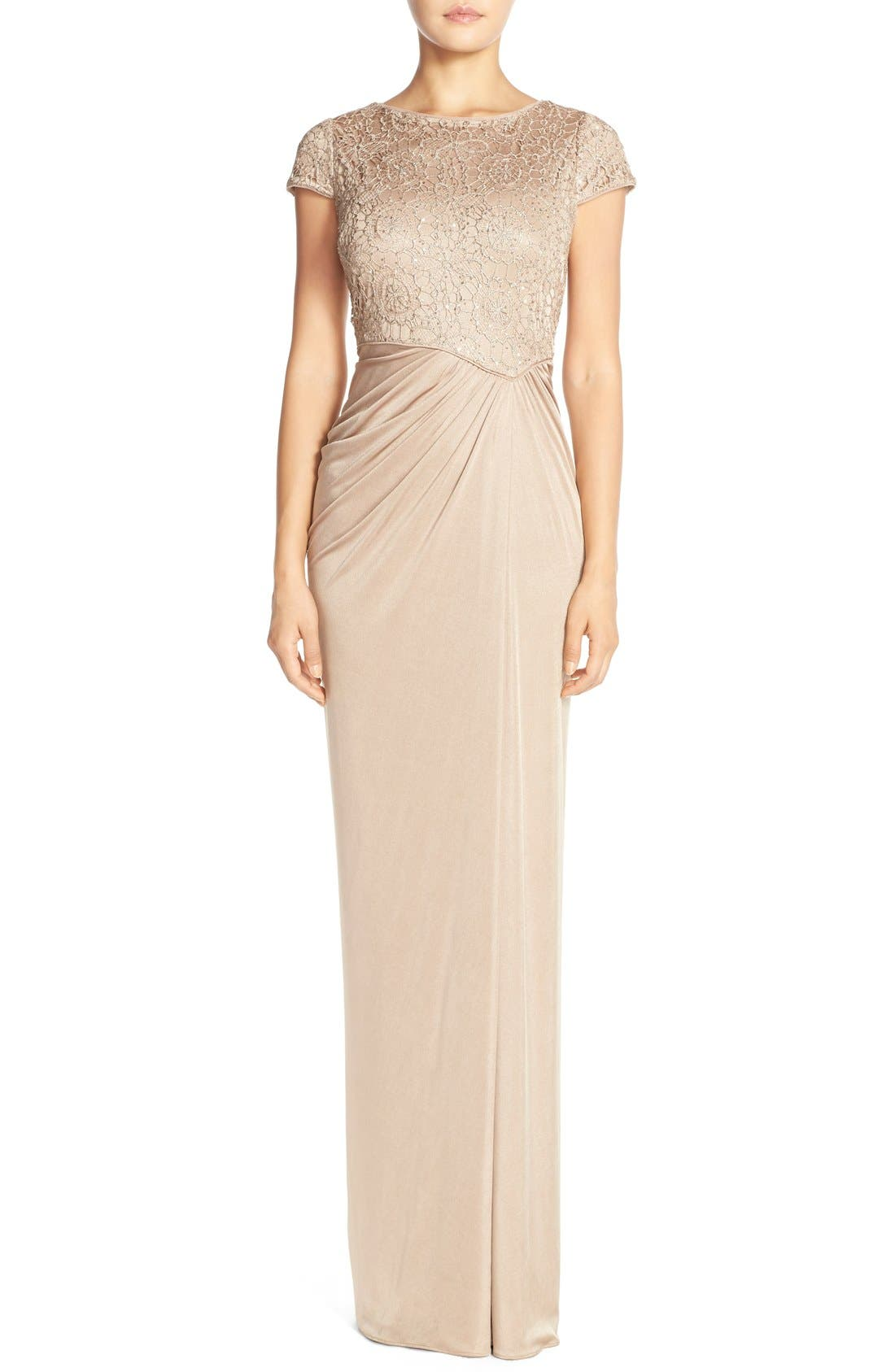 Main Image - Adrianna Papell Lace & Ruched Jersey Gown