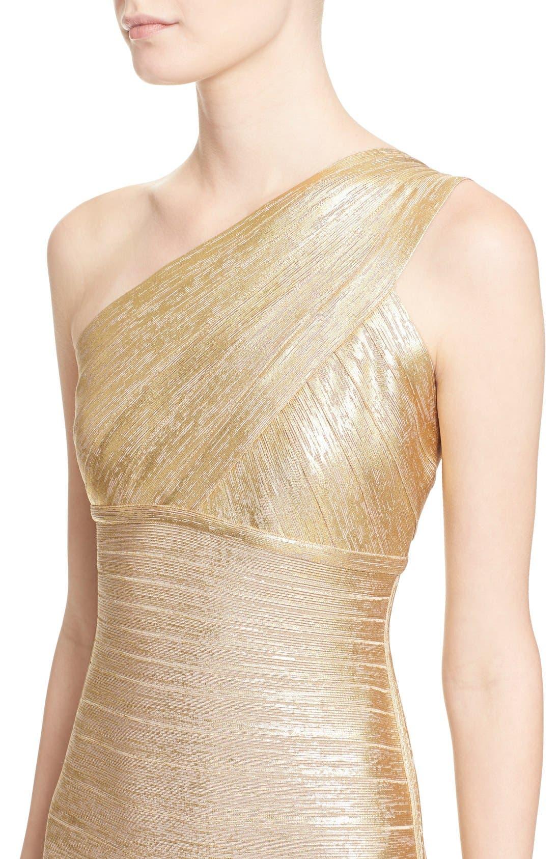 Alternate Image 6  - Herve Leger 'Lilyanna' One-Shoulder Woodgrain Metallic Gown