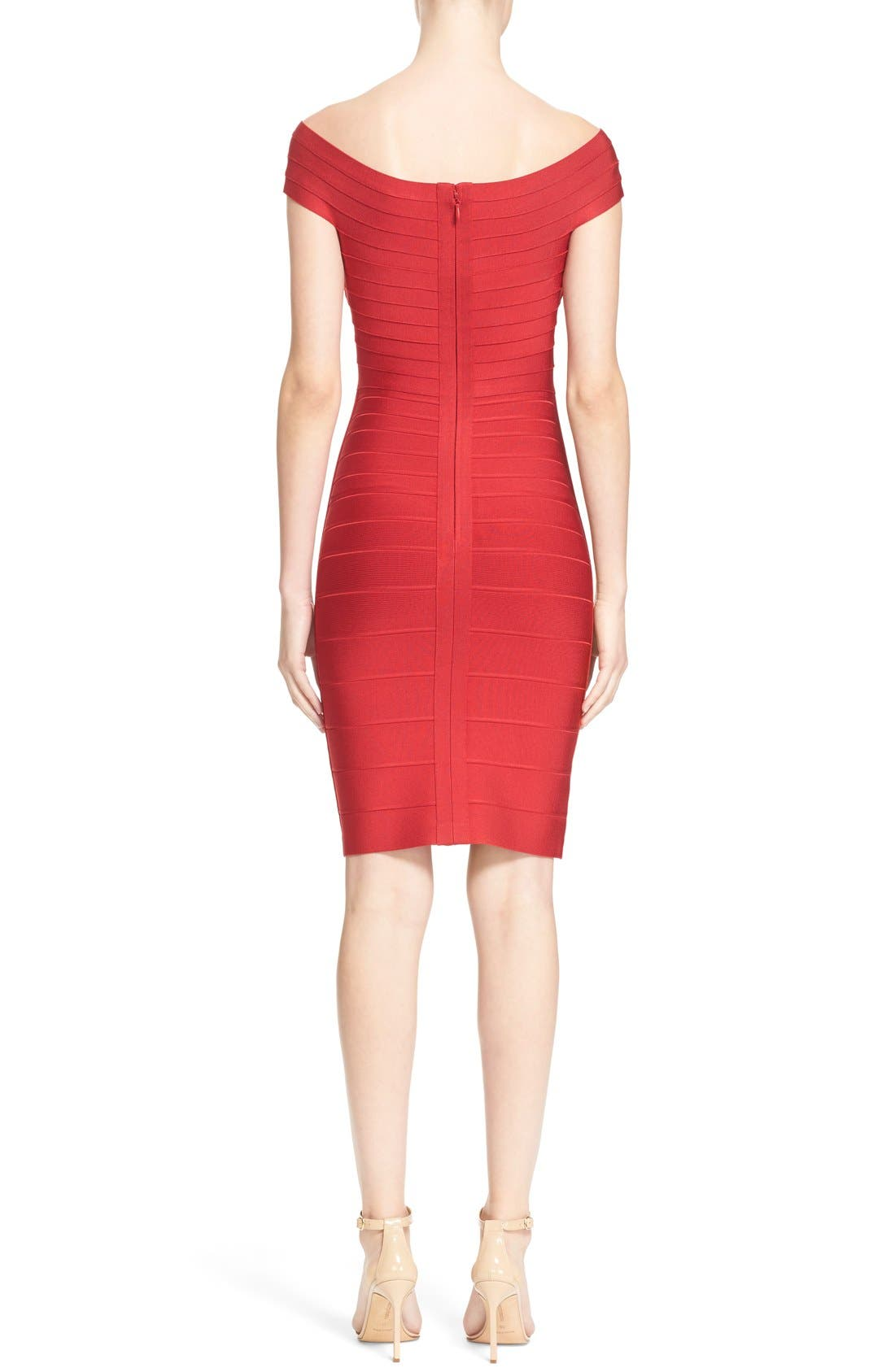 Alternate Image 2  - Herve Leger Cap Sleeve Bandage Pencil Dress