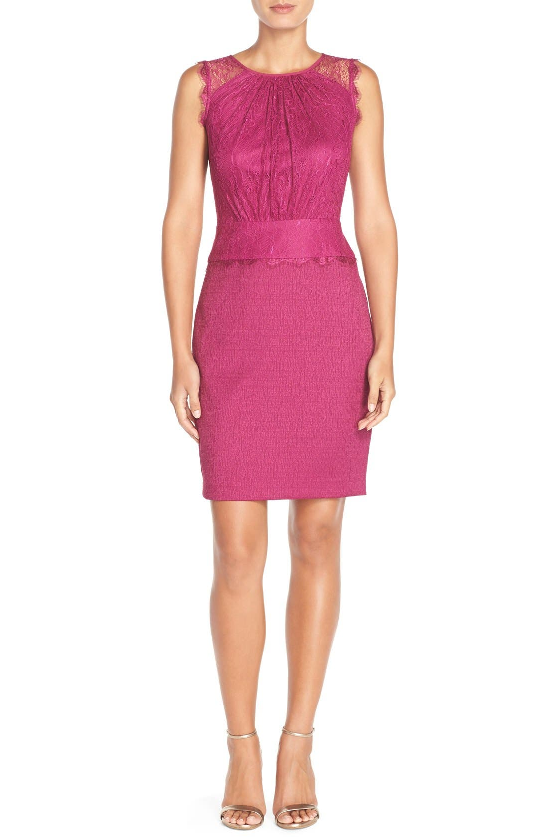 Alternate Image 1 Selected - Adrianna Papell Lace & Jacquard Blouson Dress (Regular & Petite)