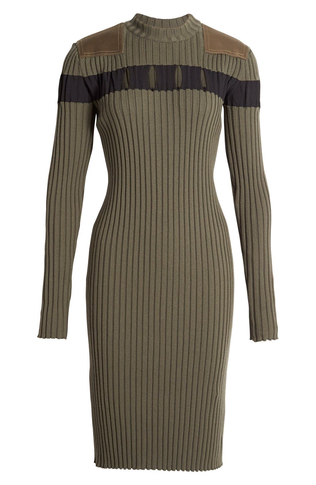 Alternate Image 4  - Alexander Wang Perforated Stripe Rib Knit Wool Dress