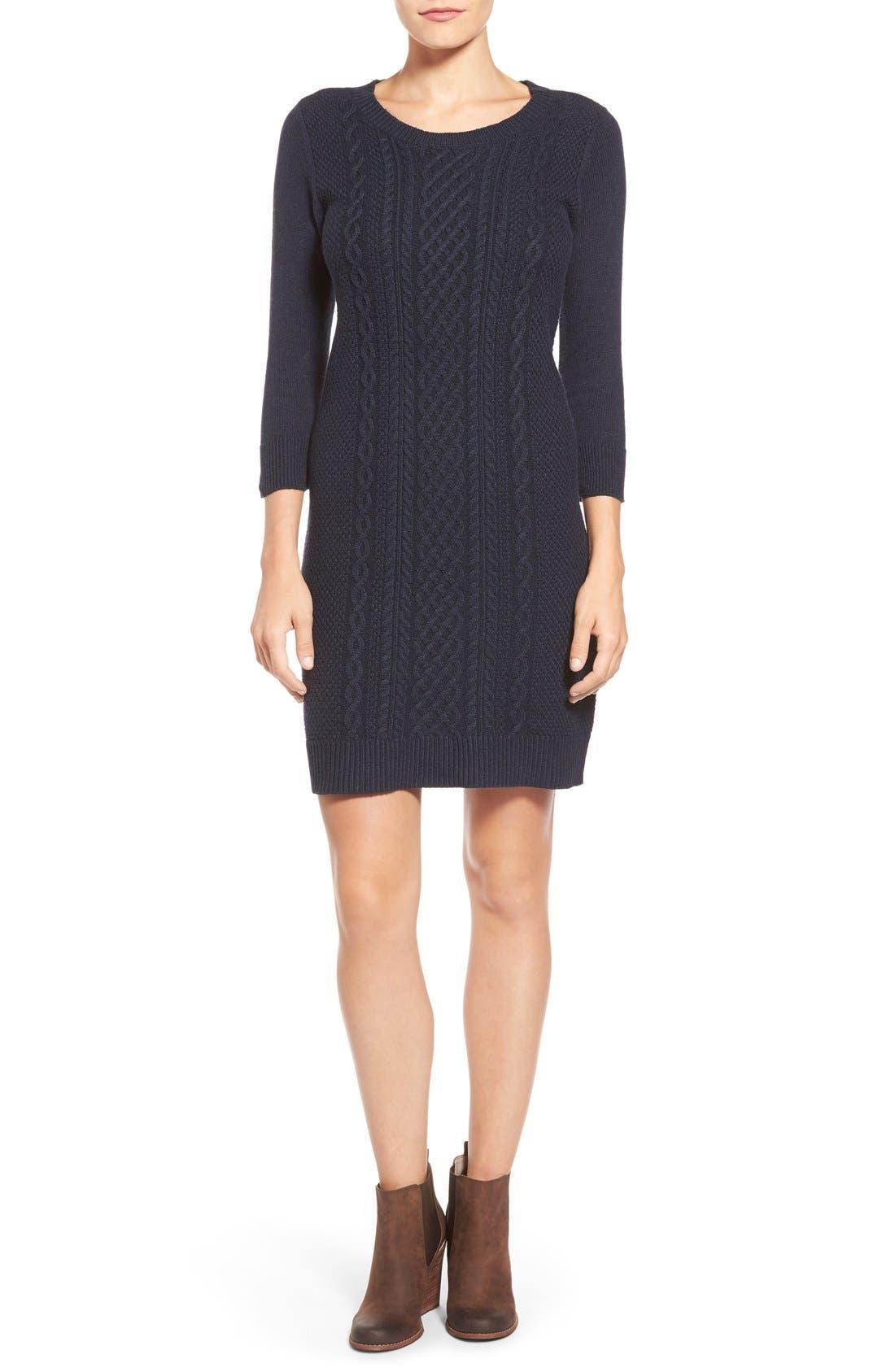 Main Image - Caslon® Cable Knit Sweater Dress (Regular & Petite)