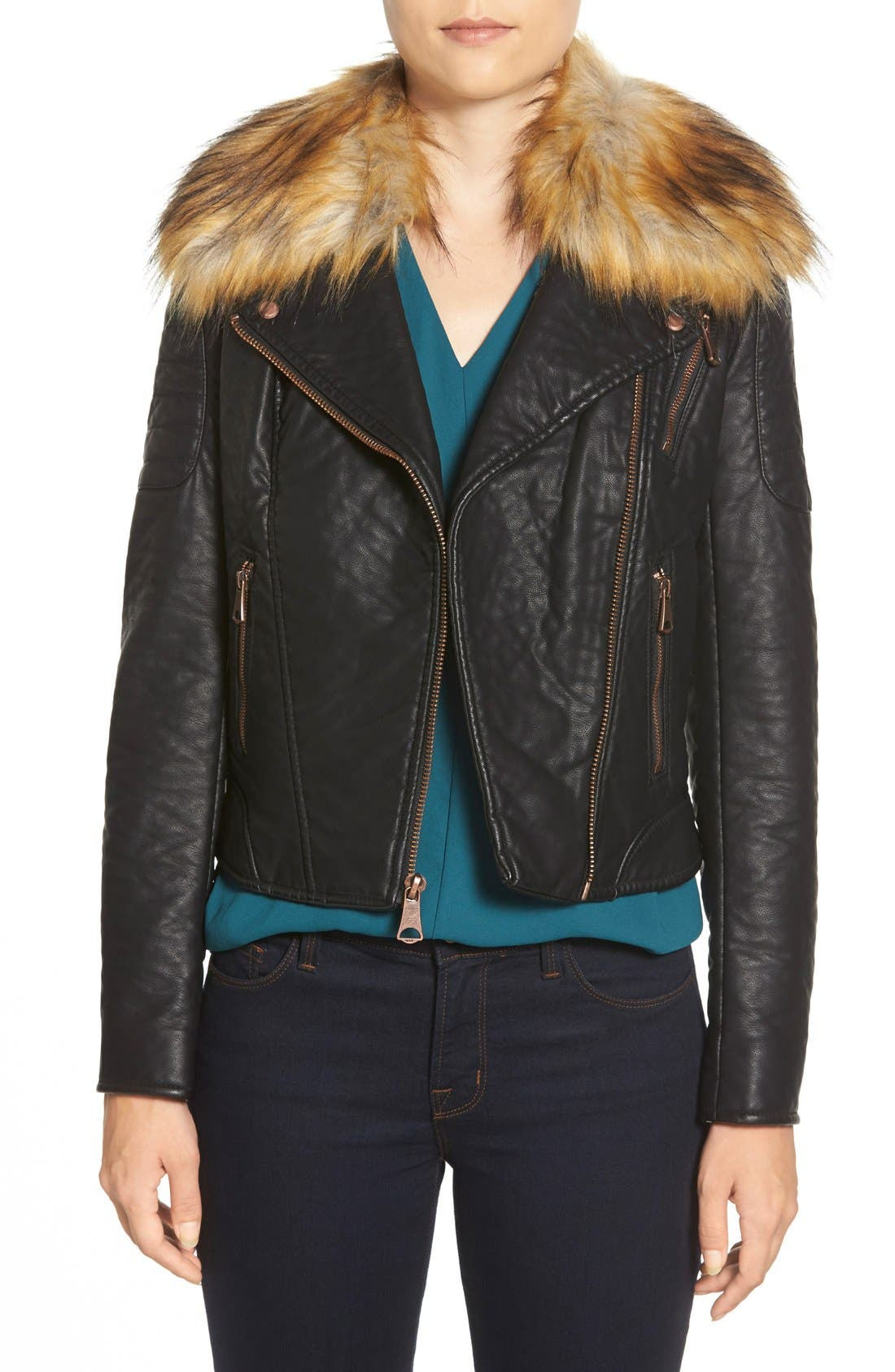 Alternate Image 1 Selected - Marc New York 'Genna' Faux Fur Collar Faux Leather Moto Jacket