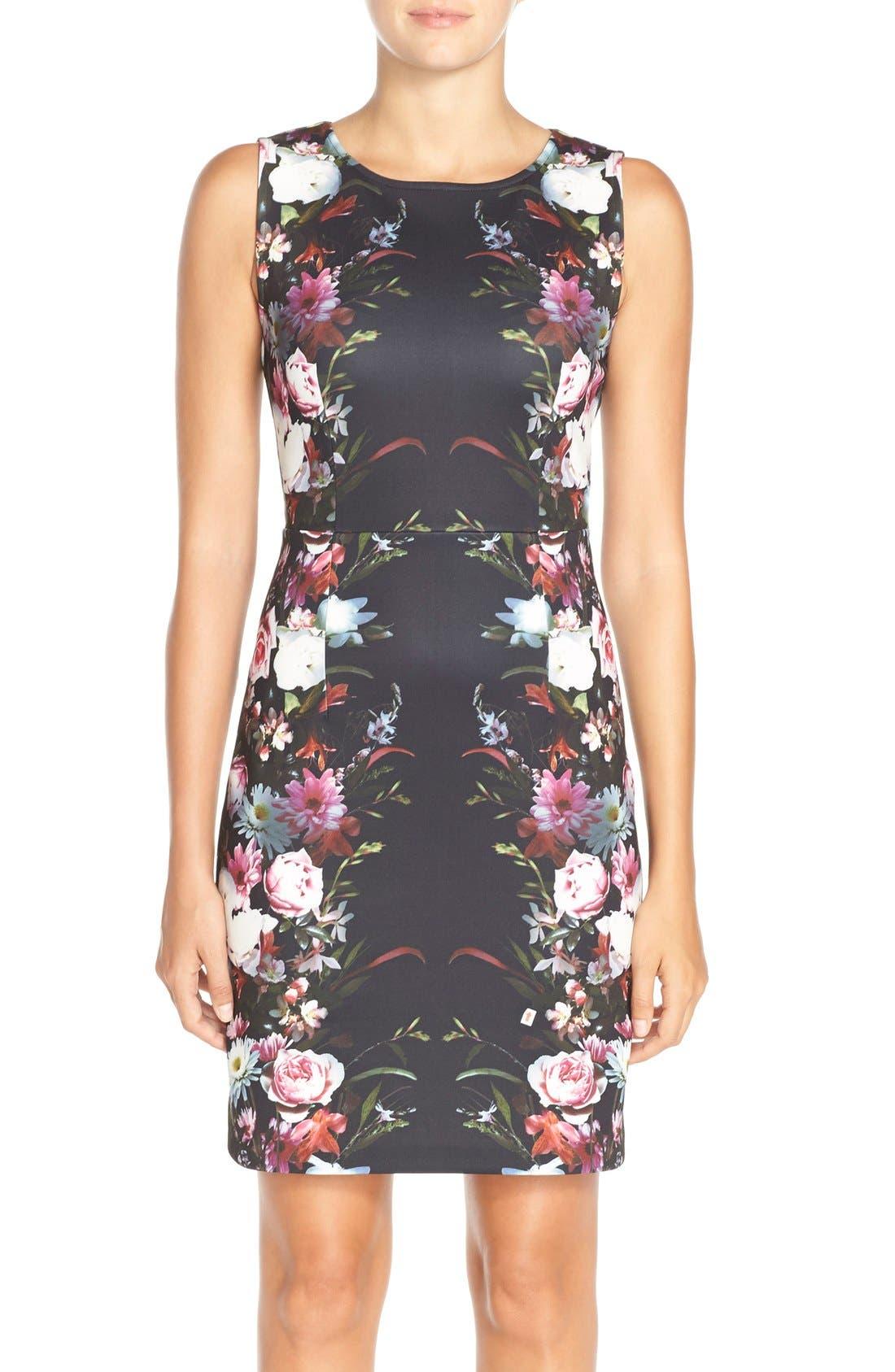 Main Image - Felicity & Coco Floral Print Scuba Sheath Dress (Regular & Petite) (Nordstrom Exclusive)