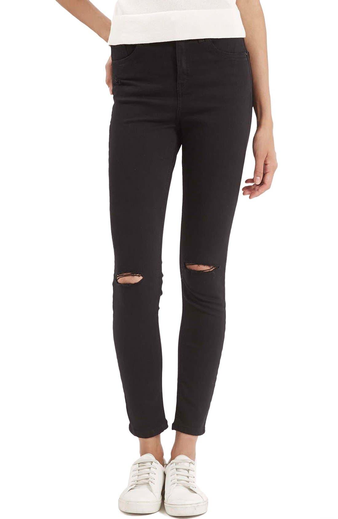 Alternate Image 1 Selected - Topshop Moto 'Jamie' Ripped Crop Skinny Jeans (Black)
