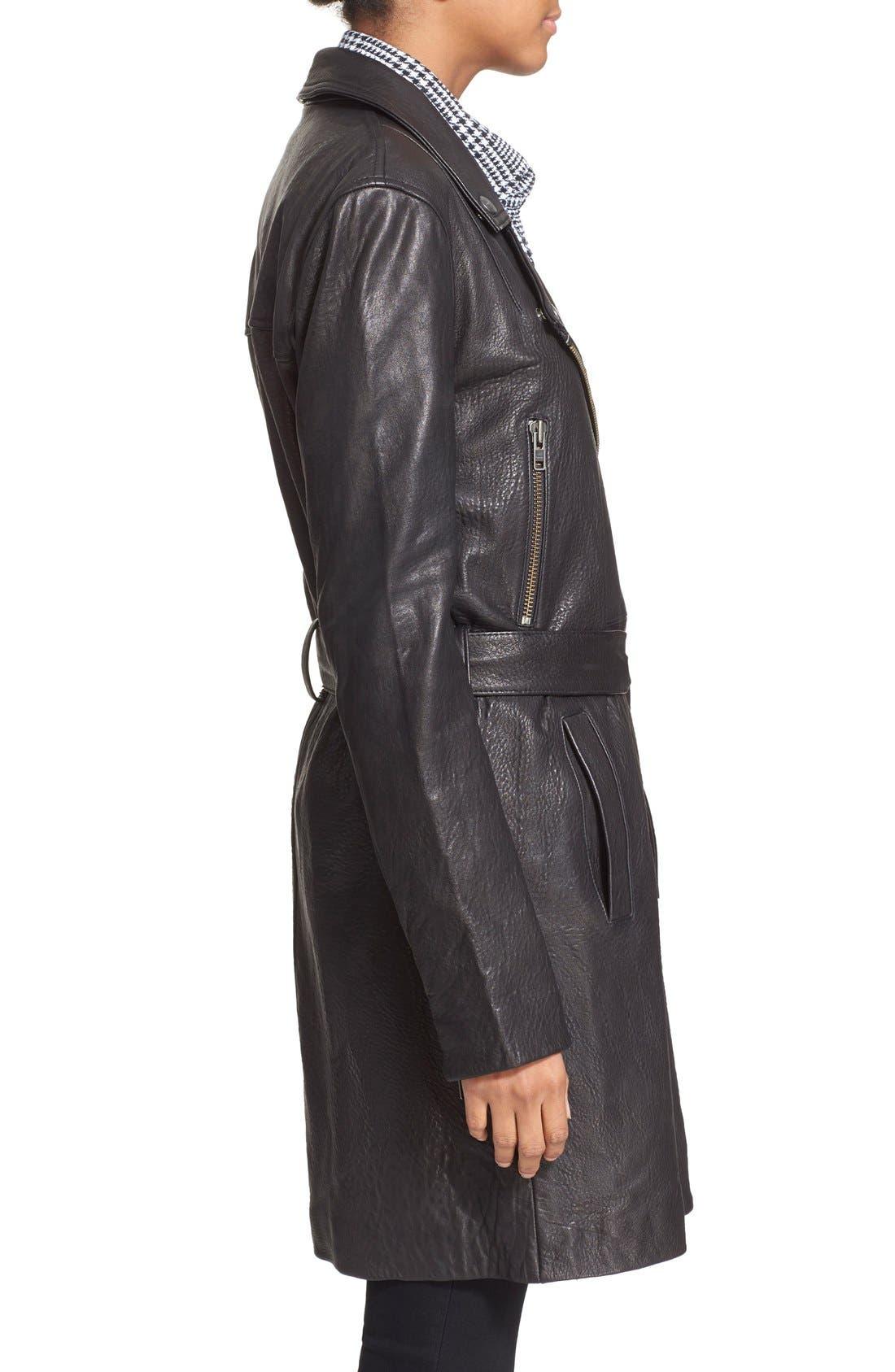 Alternate Image 3  - Current/Elliott 'The Long Moto' Lambskin Leather Moto Trench Coat