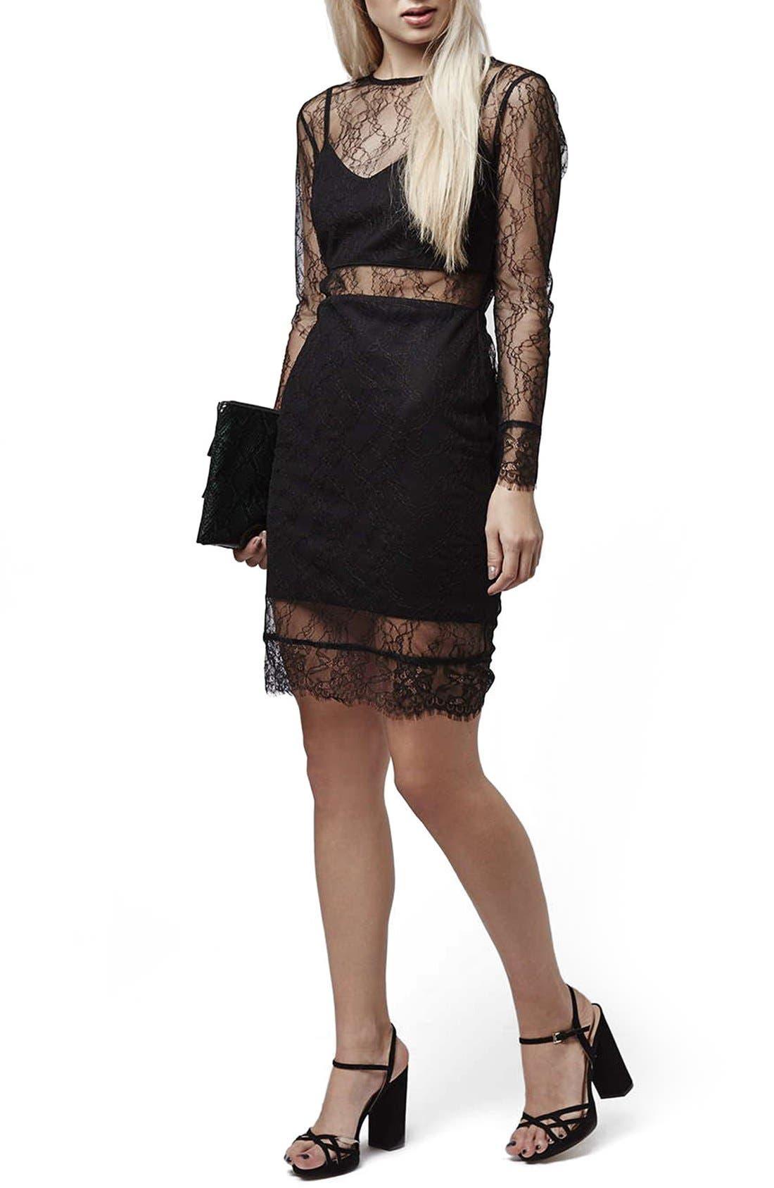 Main Image - Topshop Lace Overlay Body-Con Dress (Regular & Petite)