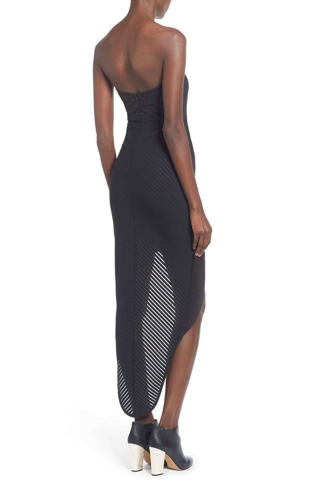Alternate Image 2  - Missguided Stripe Strapless High/Low Dress