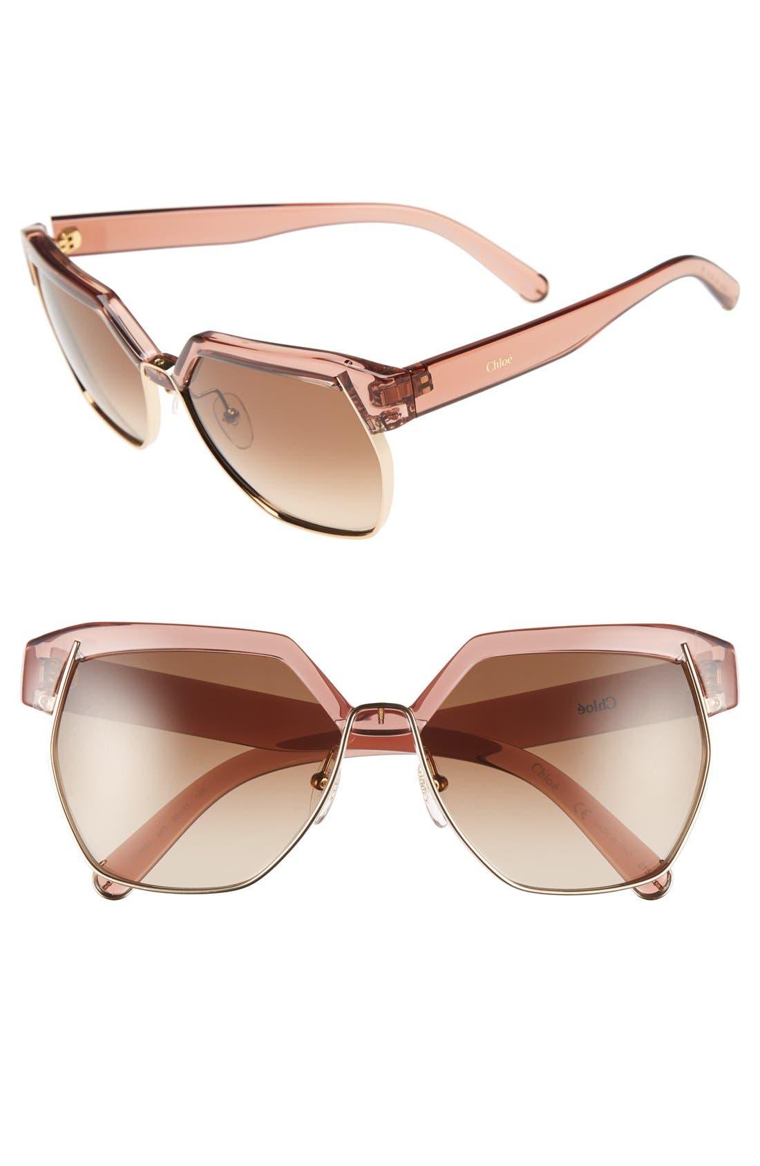 Alternate Image 1 Selected - Chloé 'Dafne ' 60mm Gradient Sunglasses