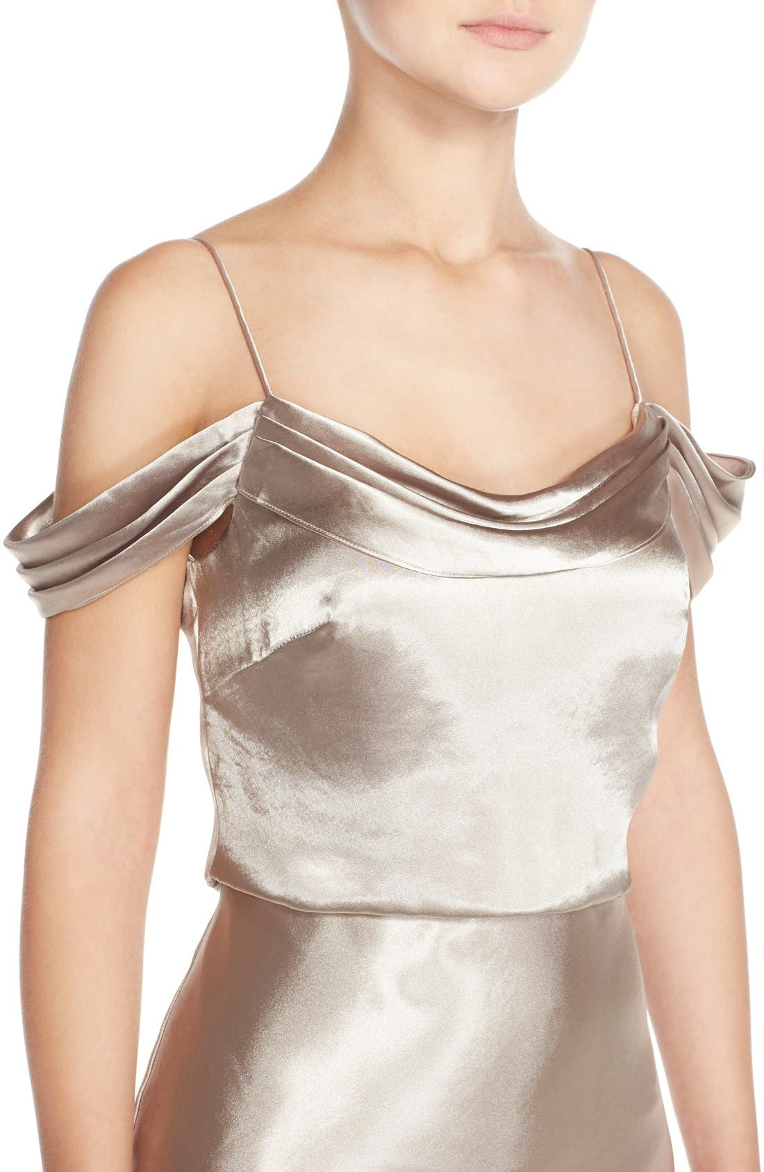 Alternate Image 4  - Jenny Yoo 'Sabine' Draped Pleat Neck Charmeuse Gown