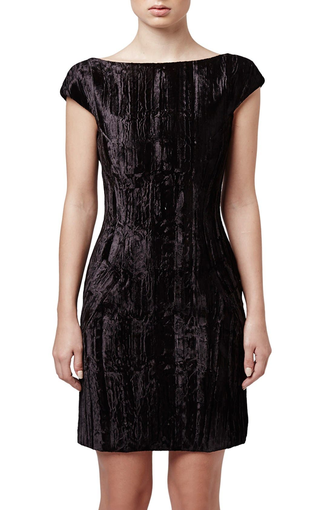 Main Image - Topshop Unique 'Mayall' Crushed Velvet Shift Dress