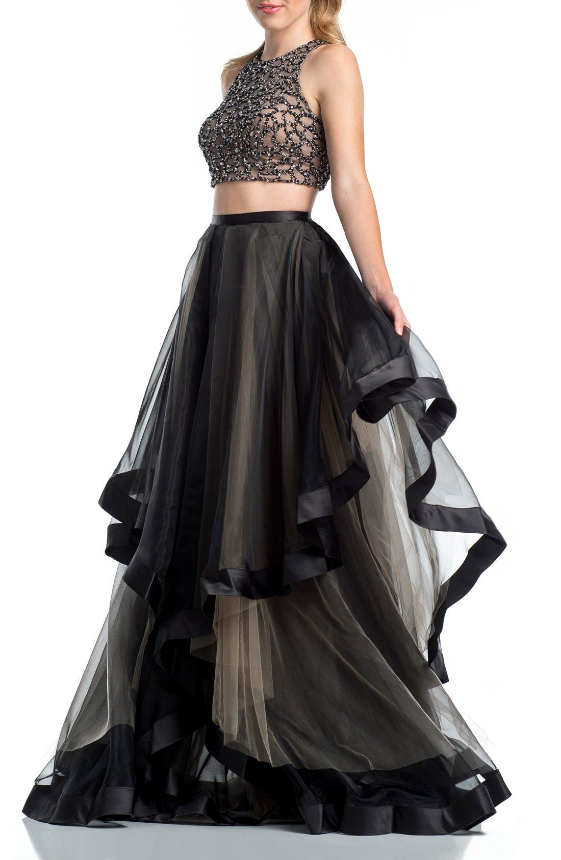 Alternate Image 1 Selected - Glamour by Terani Couture Beaded Top & Organza Two-Piece Ballgown