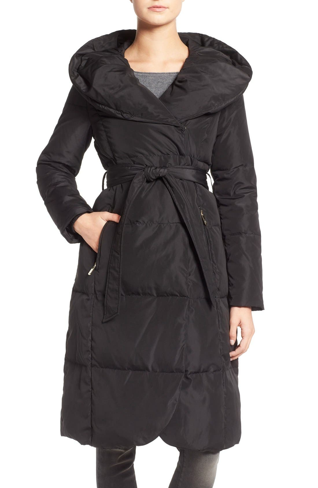Eliza J Belted Down Coat with Hood