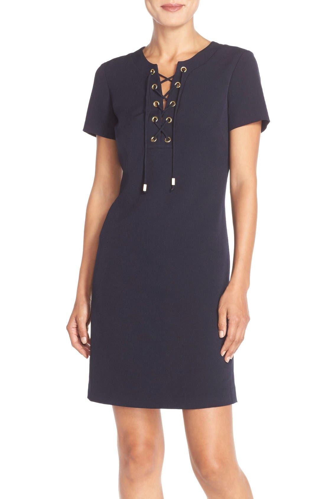 Main Image - Eliza J Front Lace Shift Dress (Regular & Petite)