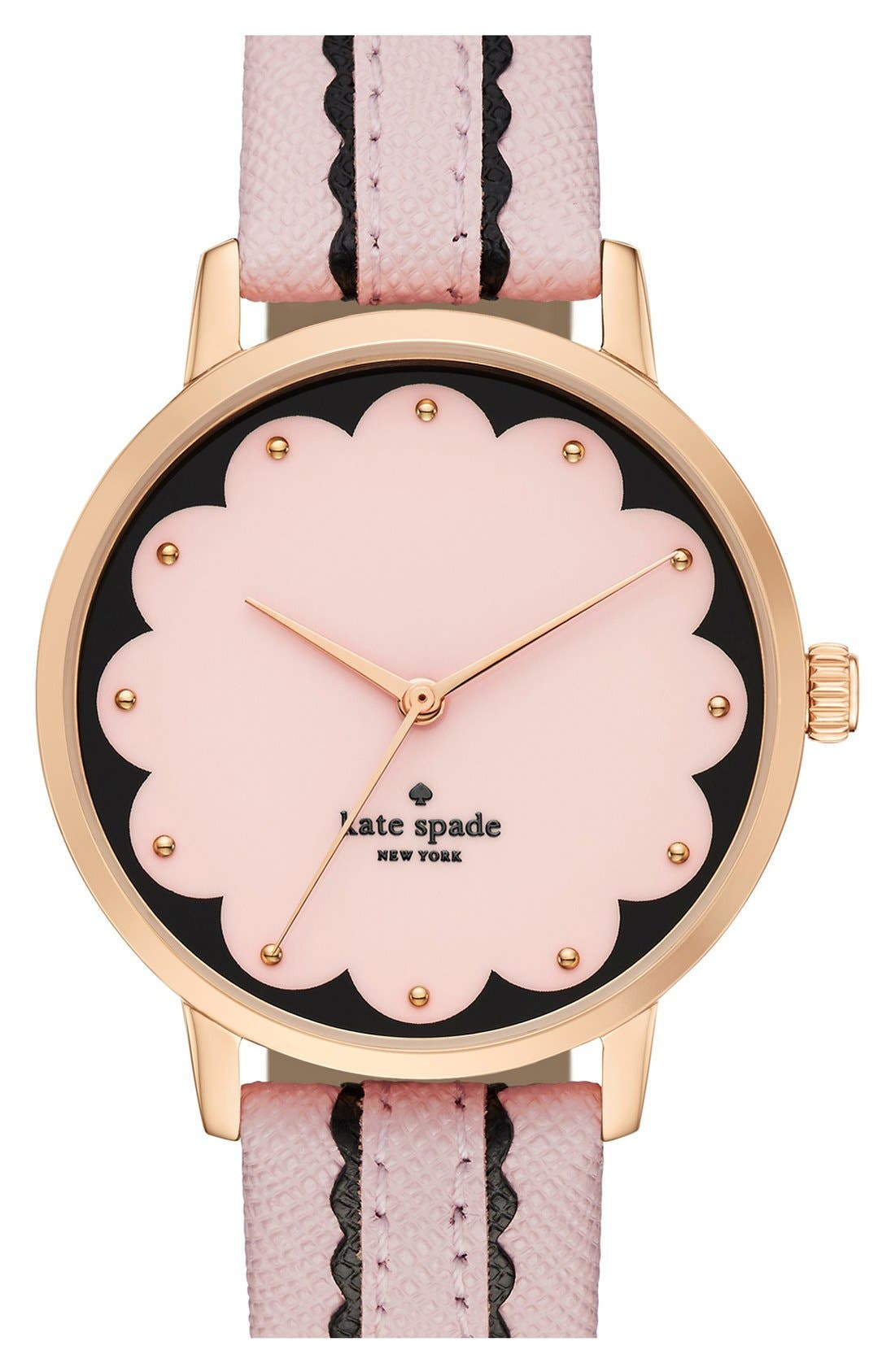 Main Image - kate spade new york 'metro' leather strap watch, 34mm