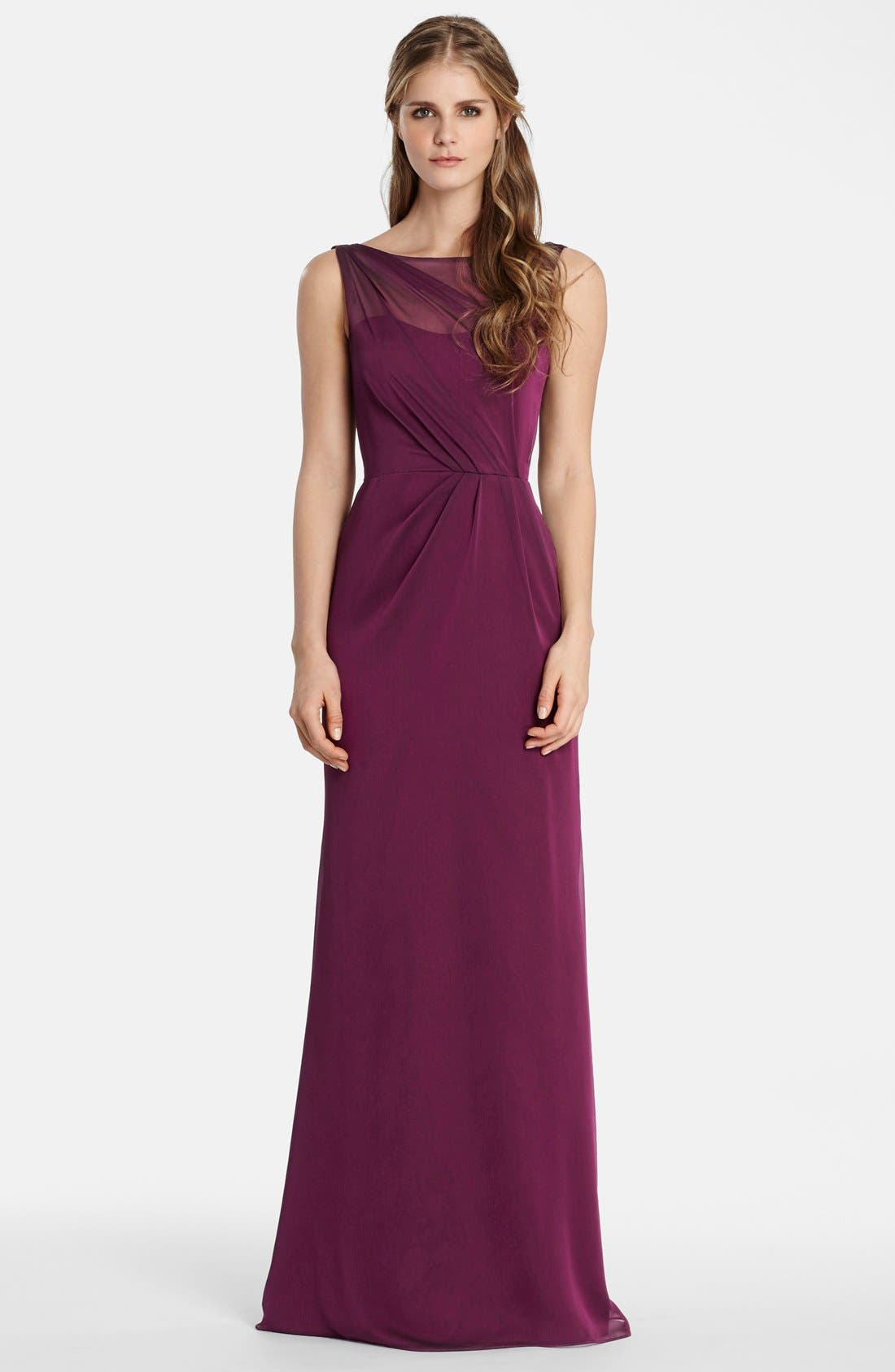 Jim Hjelm Occasions Drape Back Luminescent Chiffon A-Line Gown