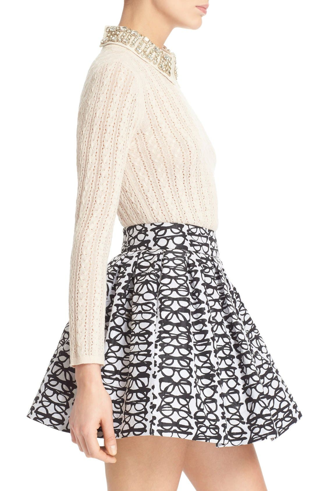 Alternate Image 3  - Alice + Olivia 'Tamsin' Embellished Collar Pointelle Cable Sweater