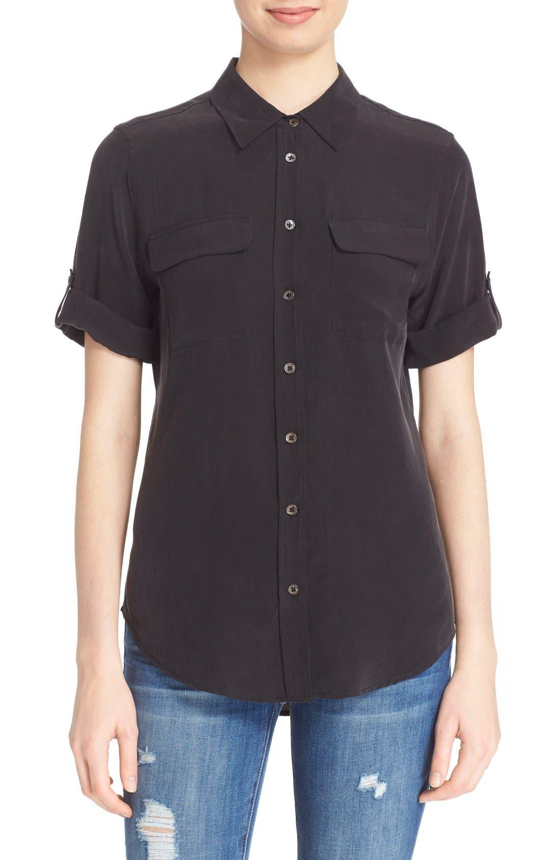 Alternate Image 1 Selected - Equipment Slim Signature Short Sleeve Silk Shirt